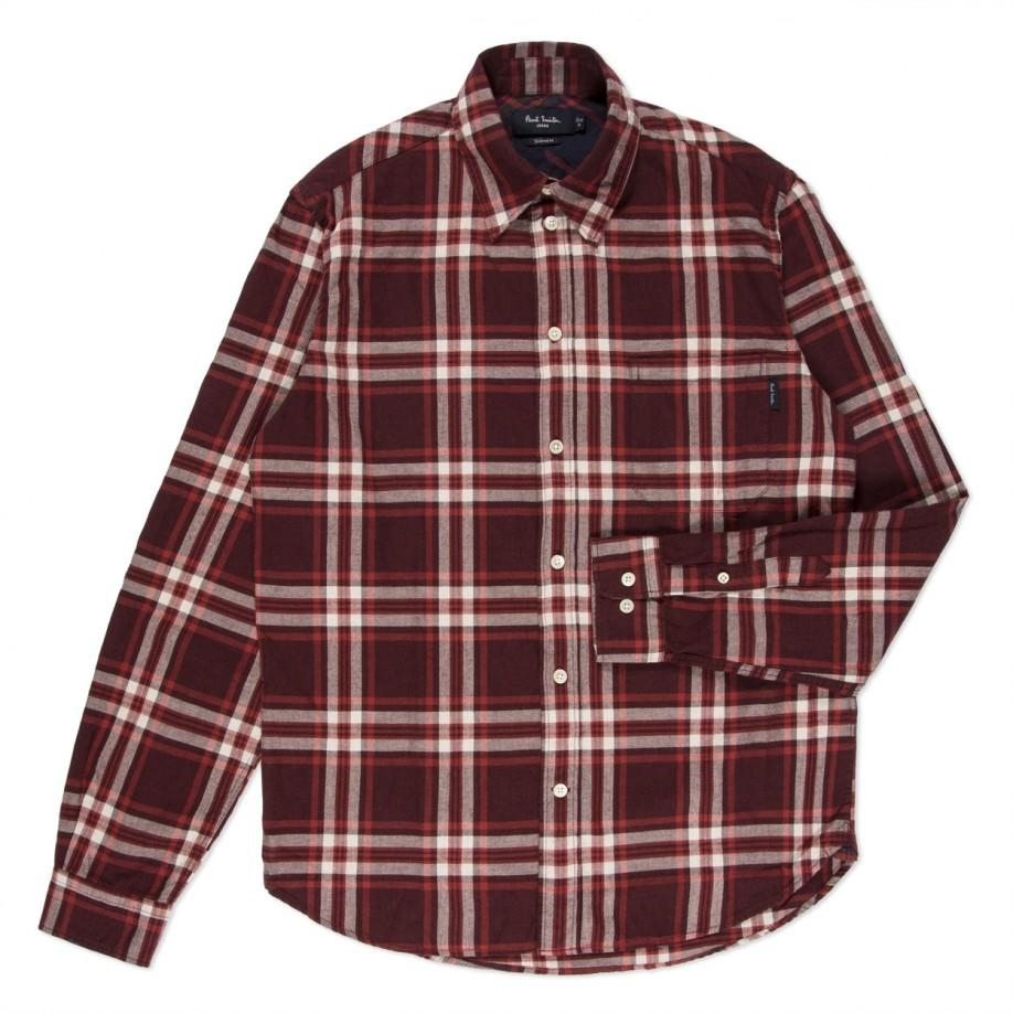 lyst paul smith burgundy plaid brushed cotton shirt in red for men. Black Bedroom Furniture Sets. Home Design Ideas