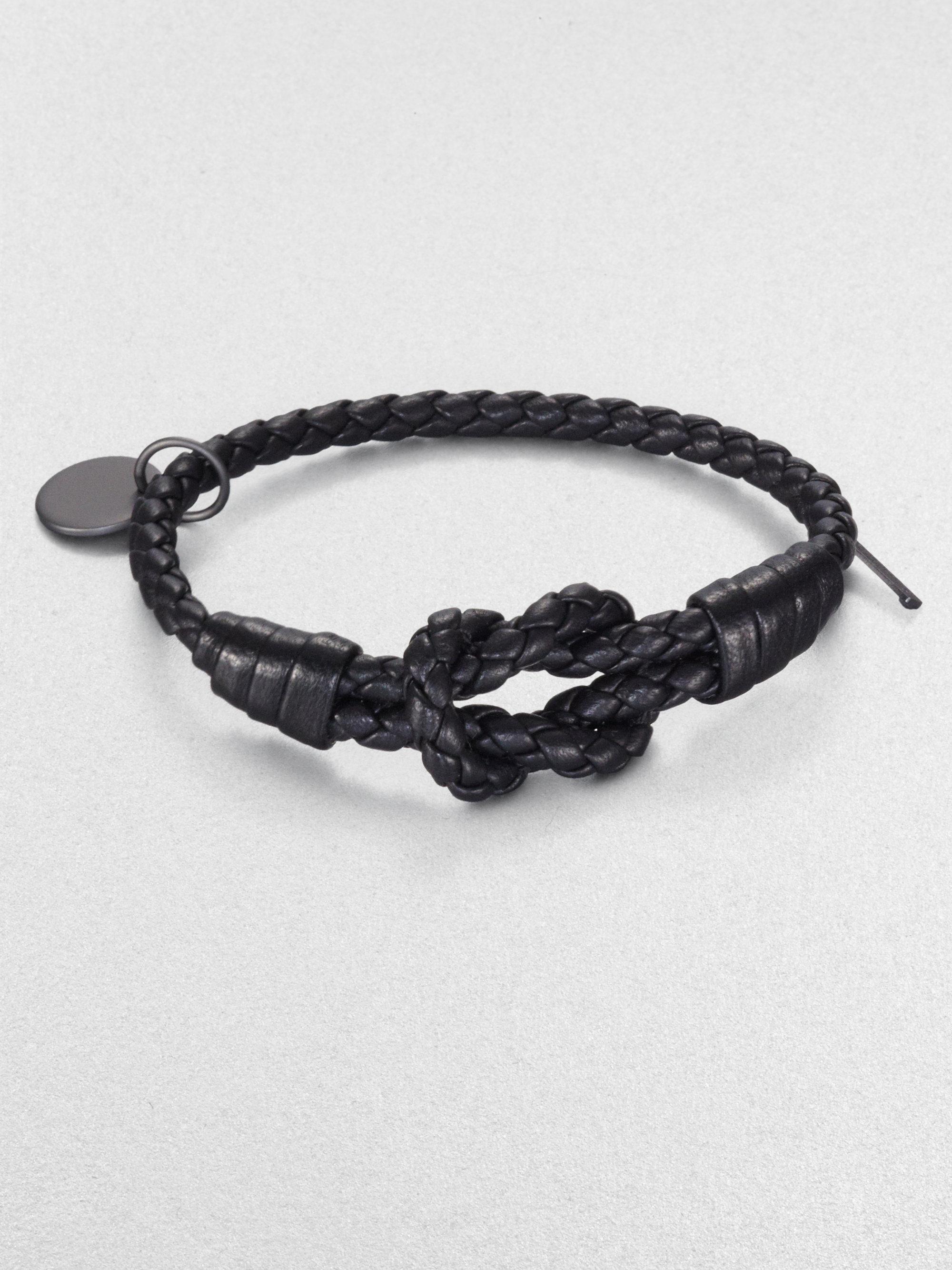 Bottega Veneta Knot intrecciato leather bracelet KOY73