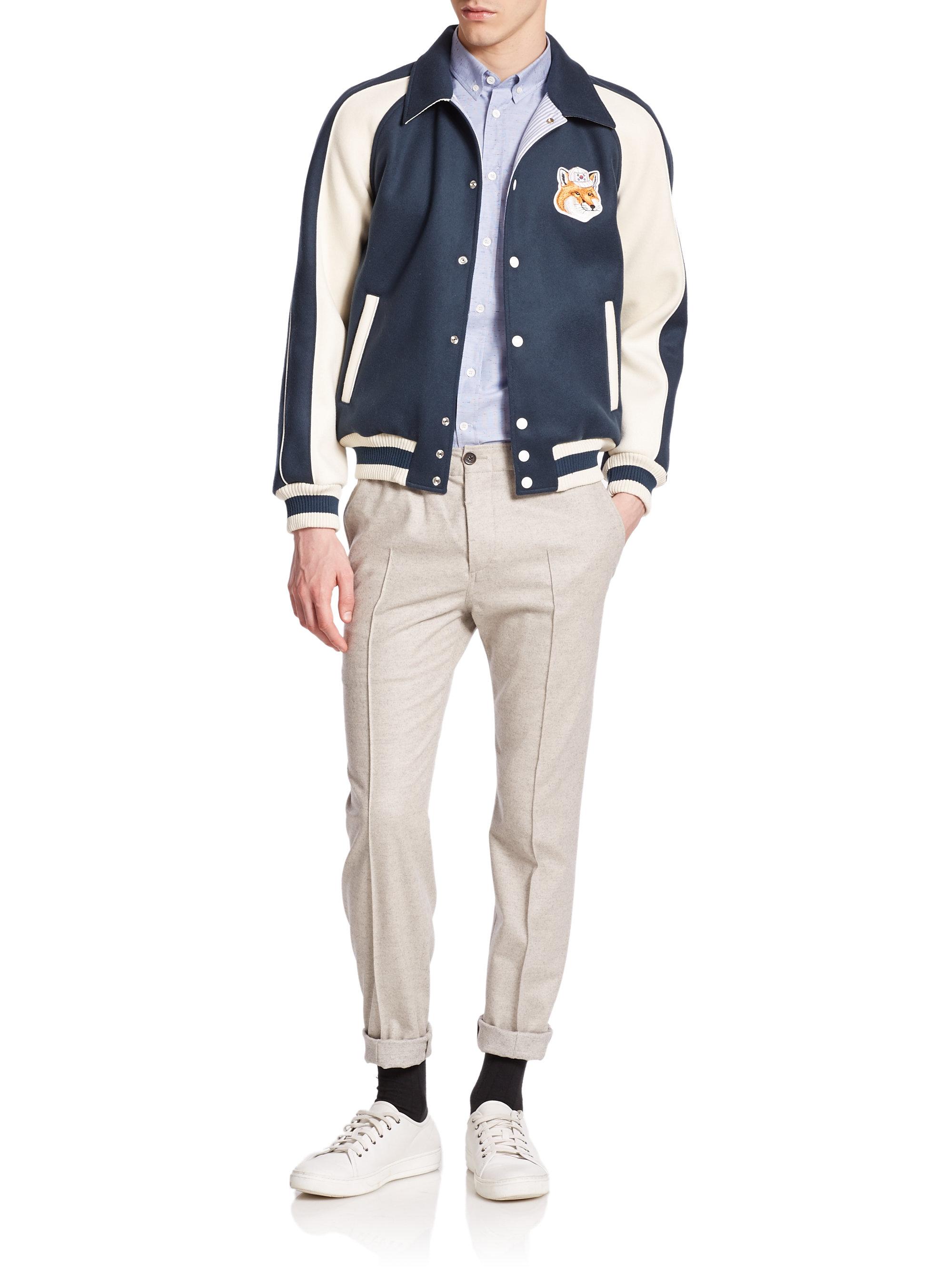 a73a3ee1329d Lyst - Maison Kitsuné Teddy Two-tone Varsity Jacket in Blue for Men