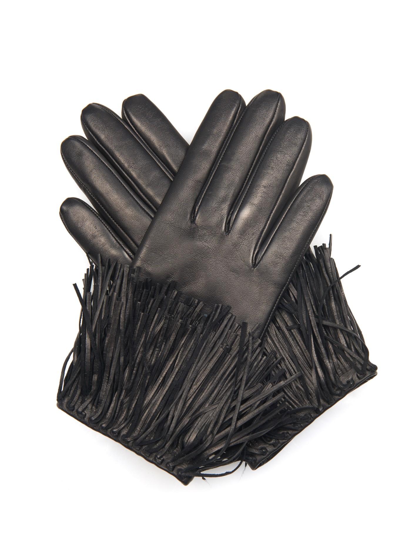 Lyst - Diane von Furstenberg Fringe Leather Gloves in Black 5e2c7845483e