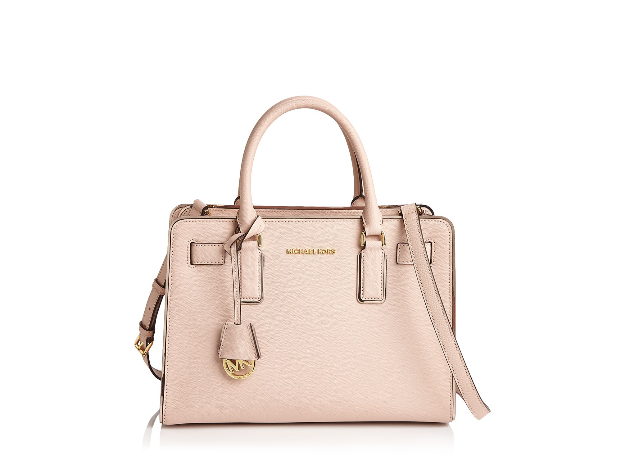 michael michael kors dillon saffiano leather satchel in pink lyst. Black Bedroom Furniture Sets. Home Design Ideas