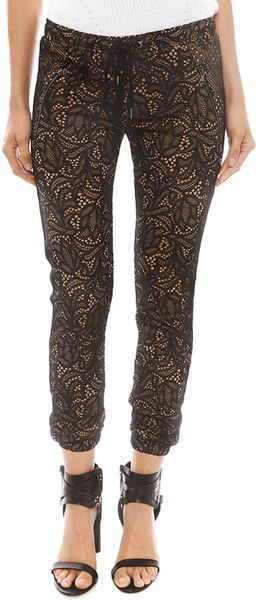 David Lerner Lace Track Pant with Tuxedo in Black