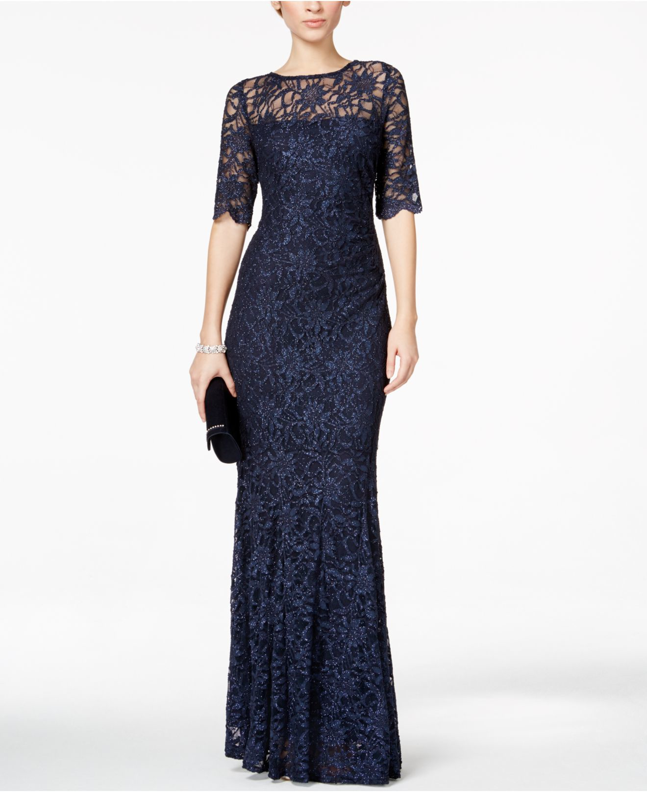 Lyst - Xscape Lace Shimmer Mermaid Gown in Blue