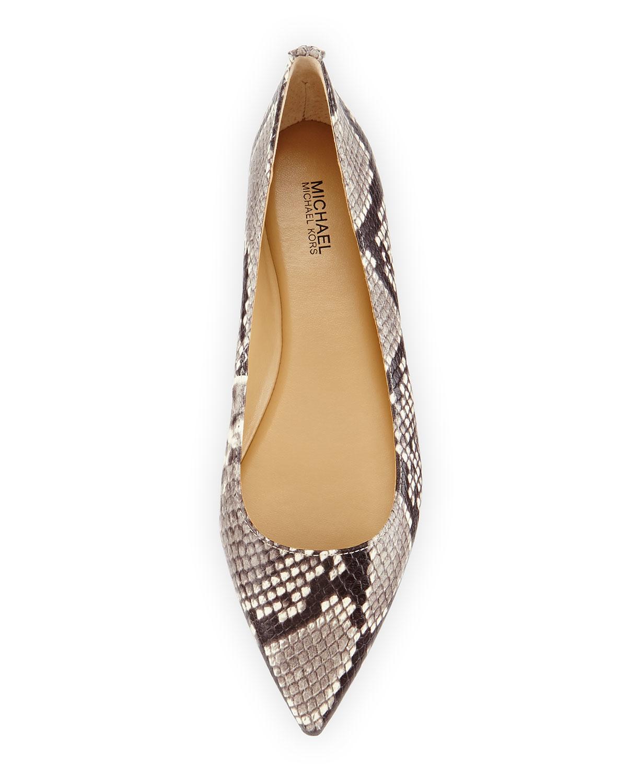 0b6a8147a MICHAEL Michael Kors Arianna Snake-Print Ballet Flats in Natural - Lyst
