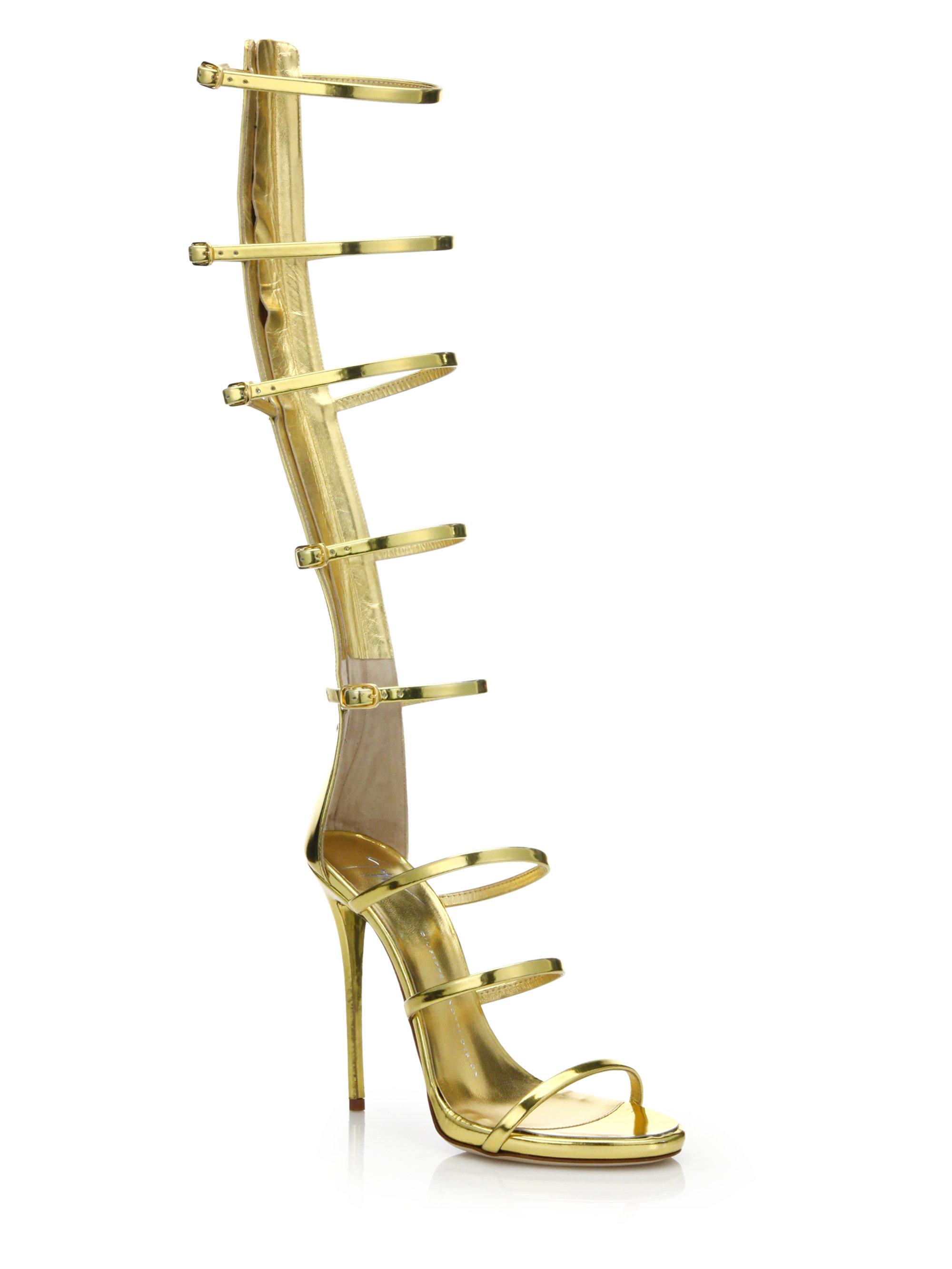 3fd8fa711dd Lyst - Giuseppe Zanotti Strappy Metallic Leather Knee Sandals in ...