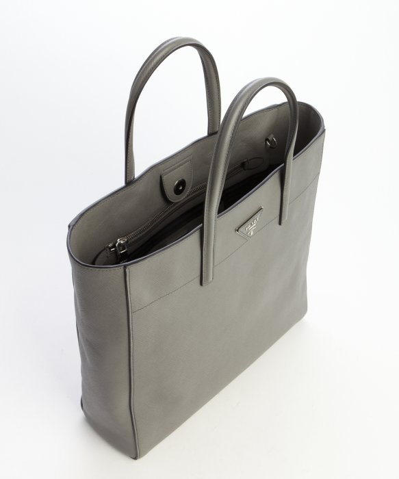 d3a7ffa9ea Prada Leather Top Handle Convertible Tote Bag in Gray (ivory)