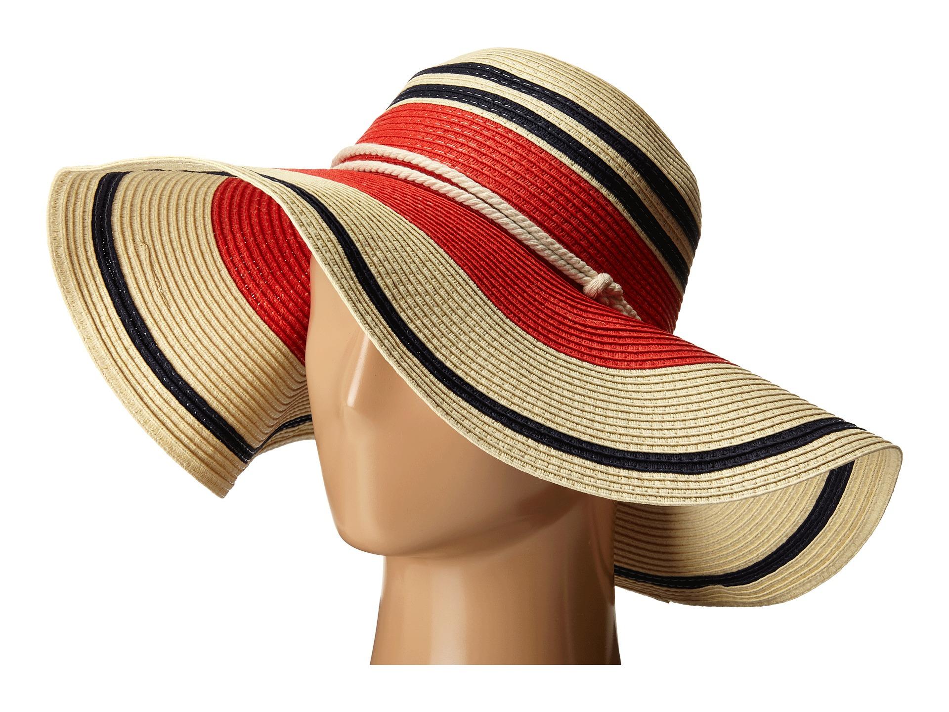 Lyst - Lauren by Ralph Lauren Paper Straw Blocked Stripe Sun Hat in Red 6044b47e15a