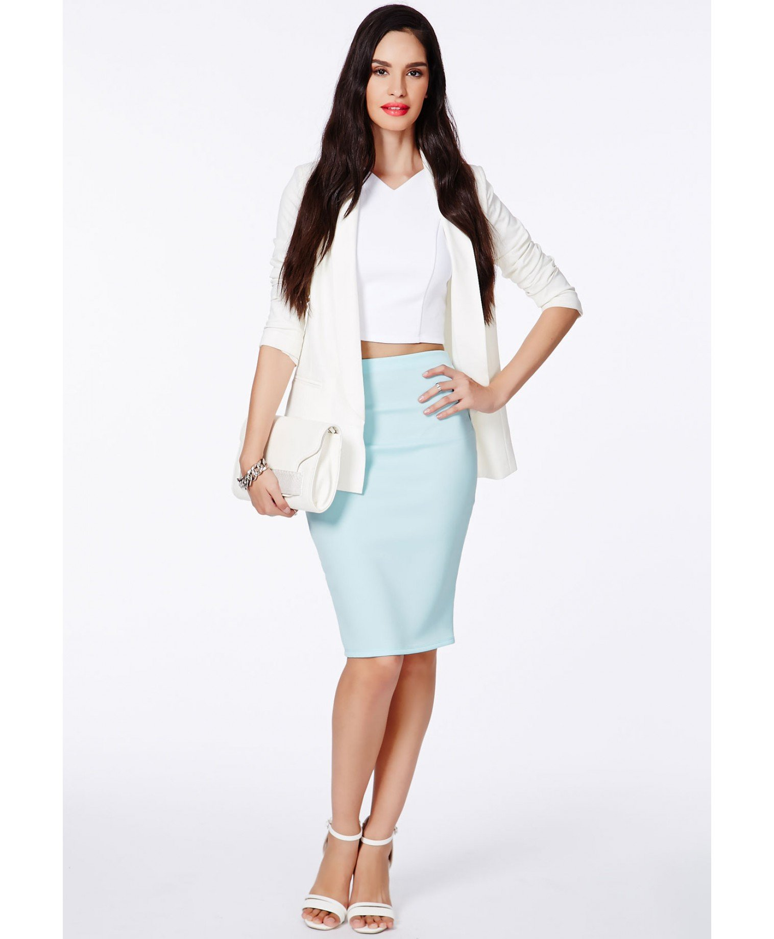missguided baby blue scuba midi skirt in blue lyst