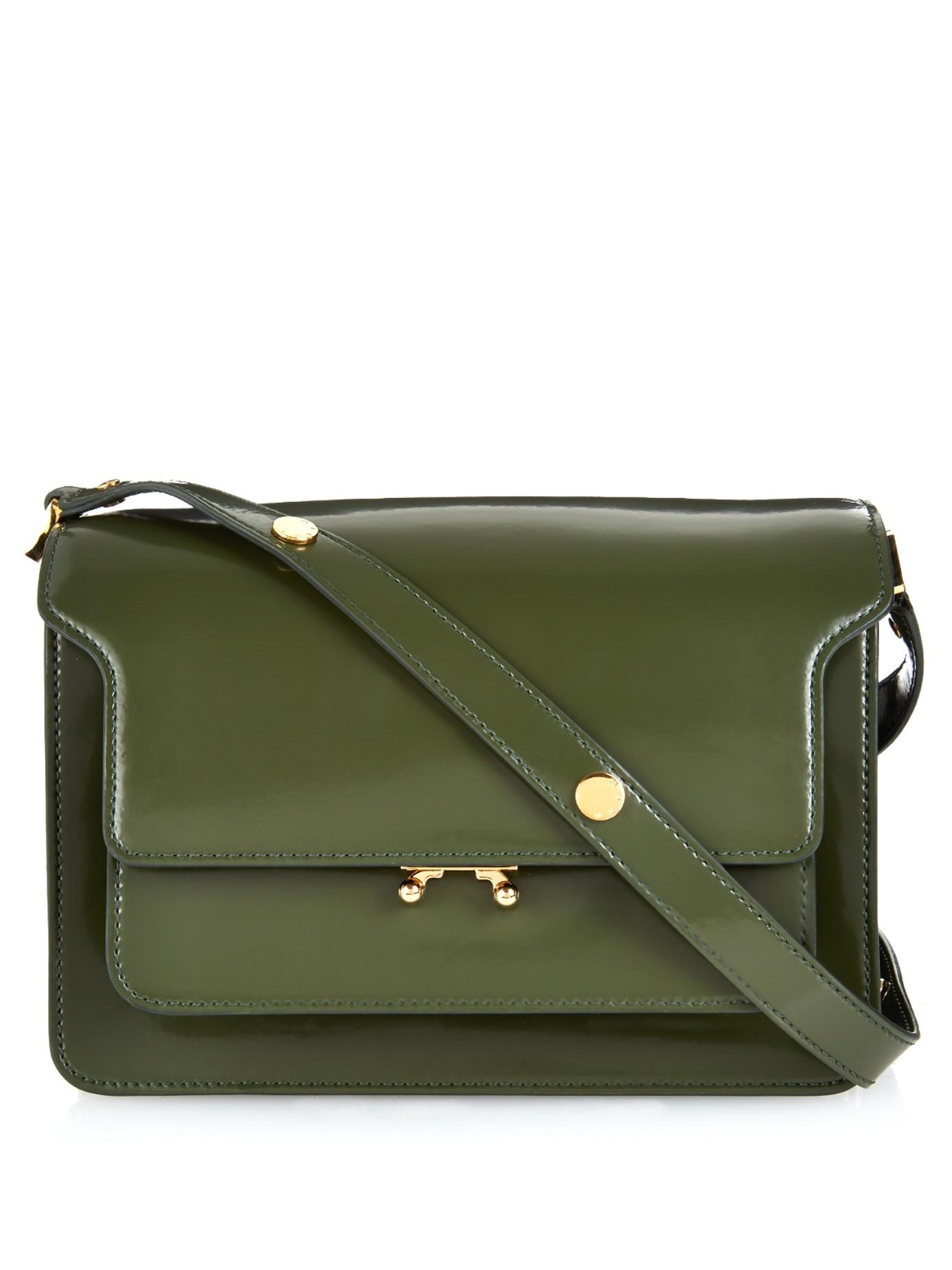 Marni Trunk Medium Leather Shoulder Bag In Green Lyst
