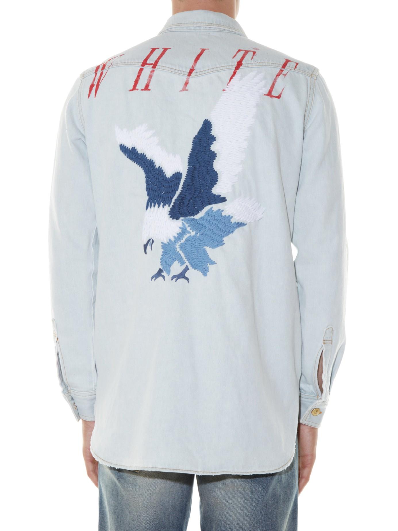Lyst Off White C O Virgil Abloh Eagle Embroidered Denim