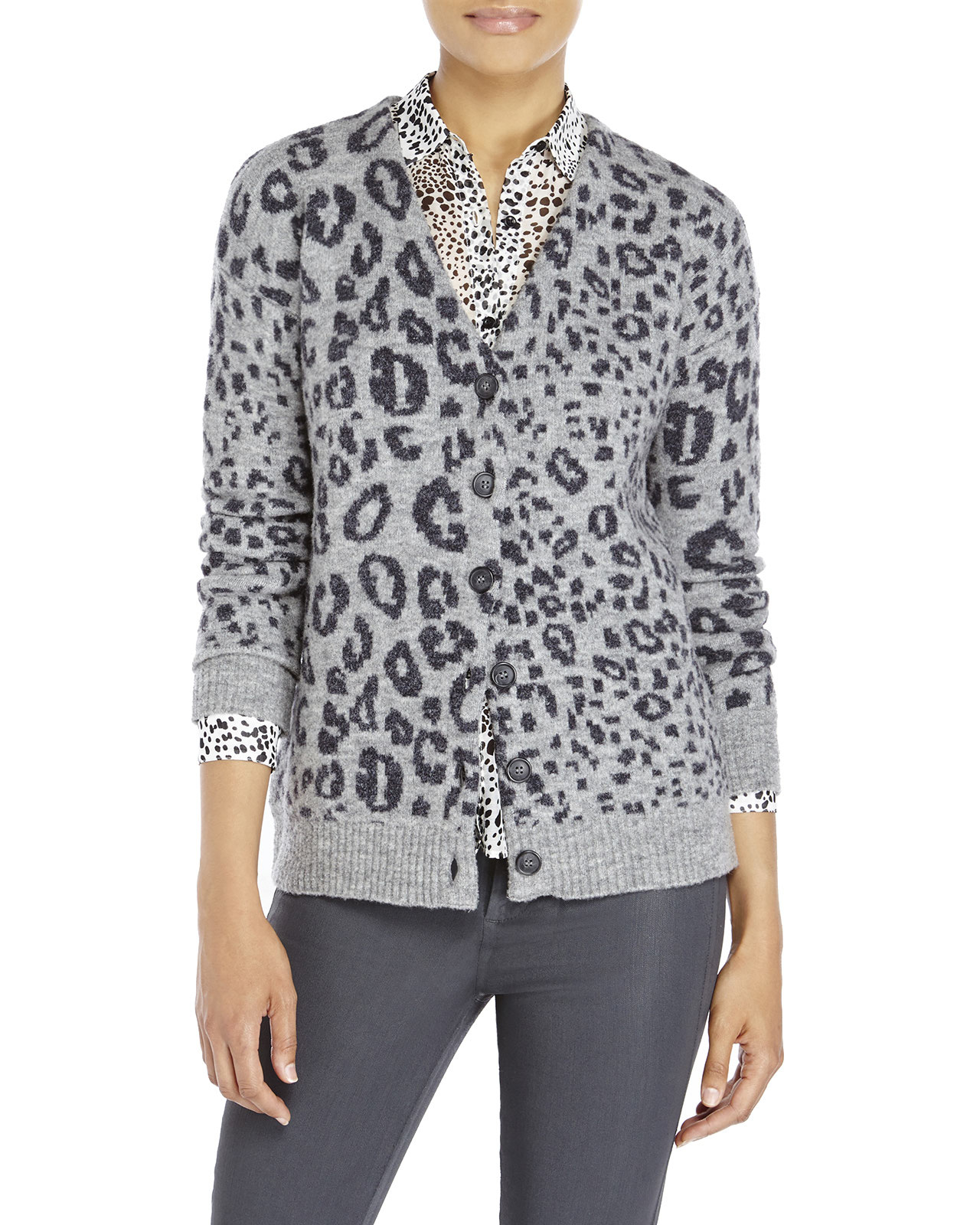The kooples Leopard Print Cardigan in Gray | Lyst