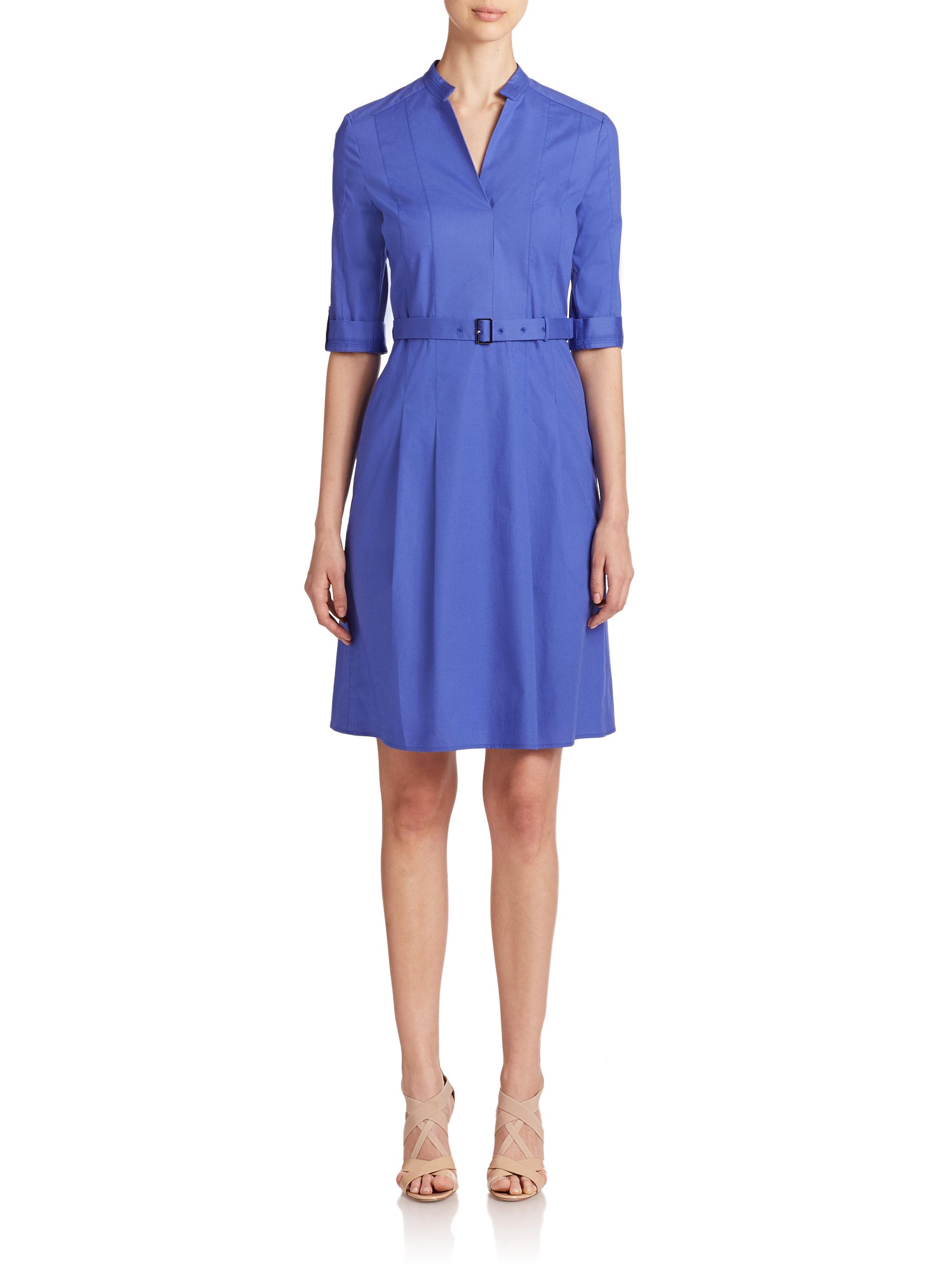 Lyst boss dunila dress in blue for Hugo boss shirt dress