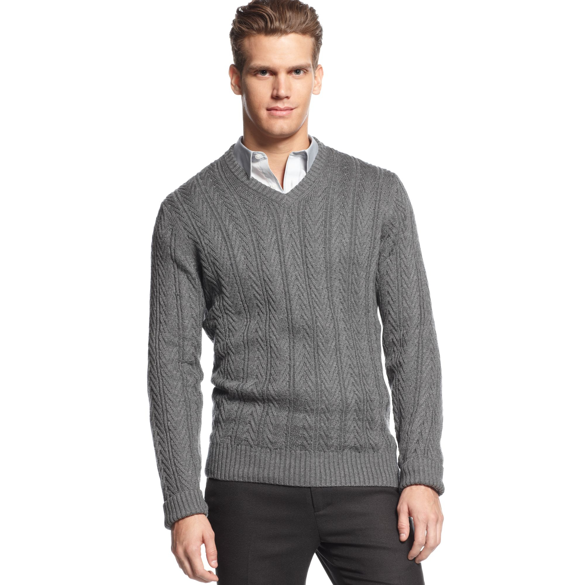 calvin klein vneck cable knit sweater in gray for men lyst. Black Bedroom Furniture Sets. Home Design Ideas