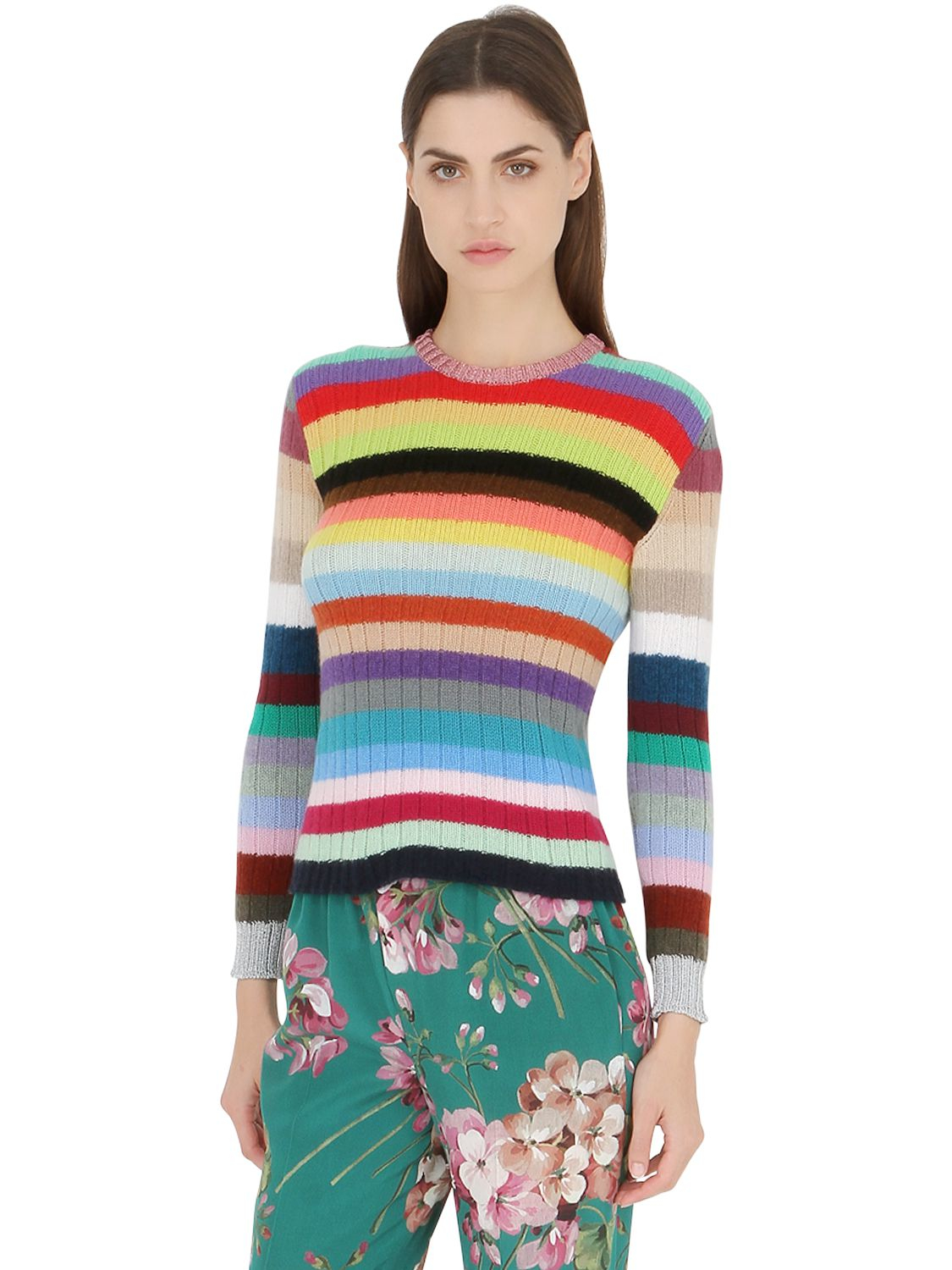 Gucci Rainbow Stripes Cashmere And Wool Blend Cardigan Lyst