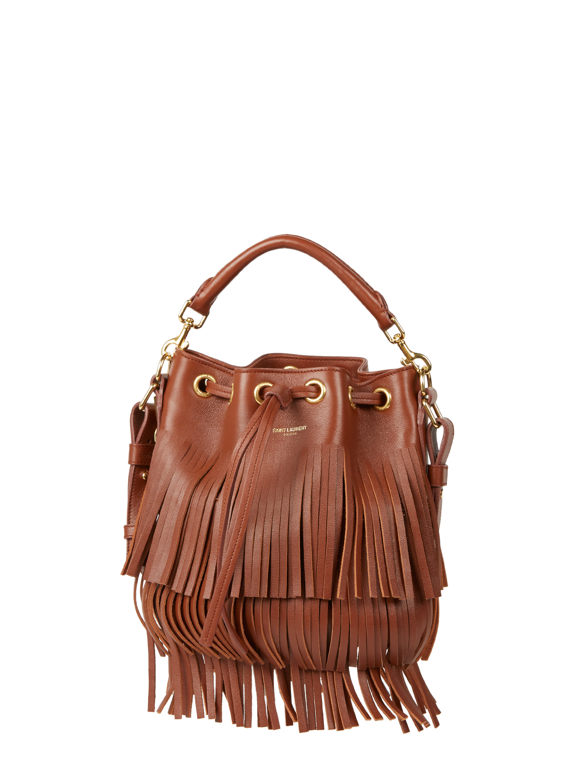 a13be3c0d2 Saint laurent Emmanuelle Small Fringed Bucket Bag in Brown