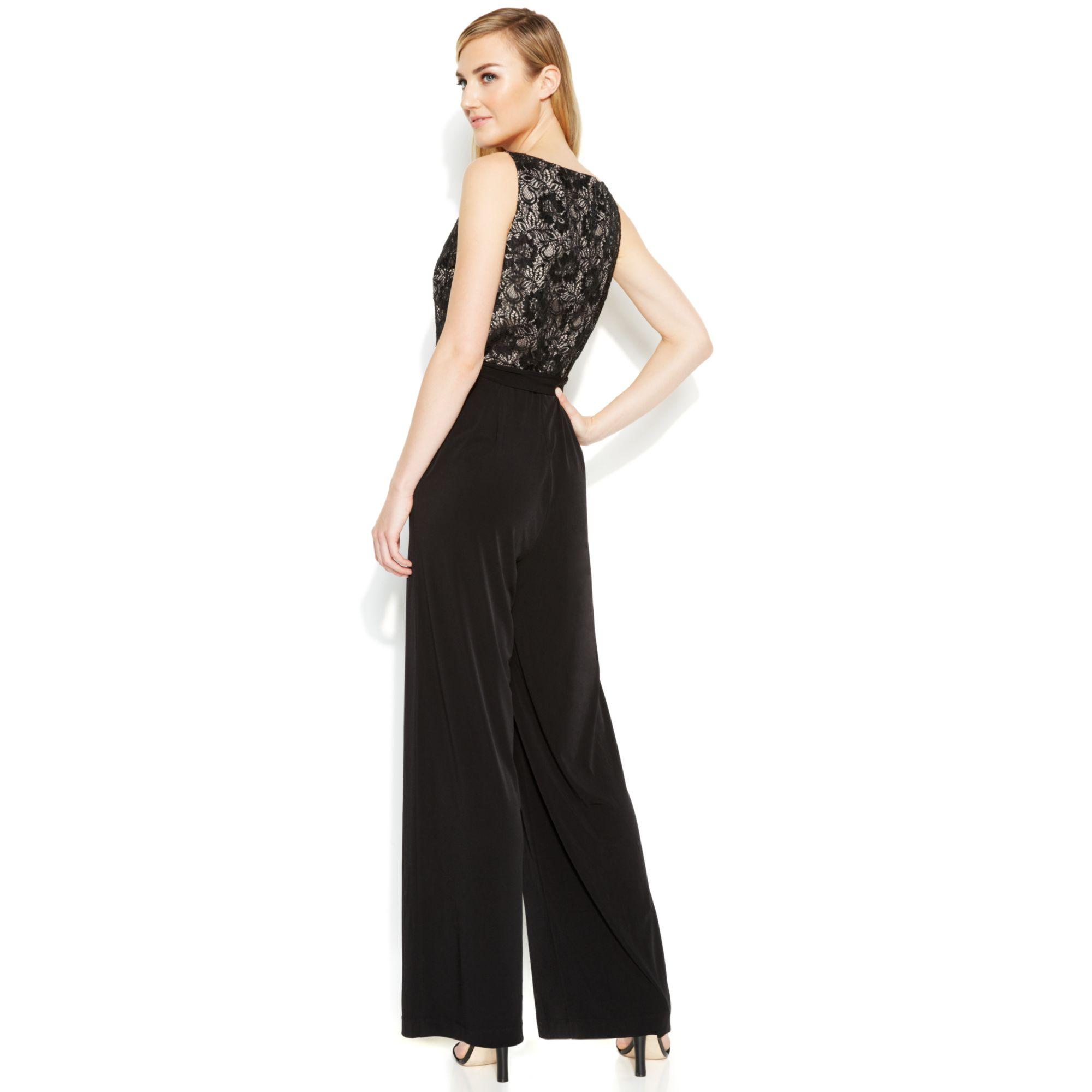 Calvin Klein Wide Leg Lace Bodice Jumpsuit In Black Black