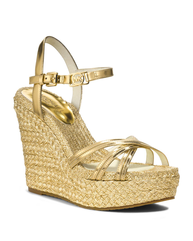 Lyst Michael Kors Michael Cicely Metallic Wedge Sandal