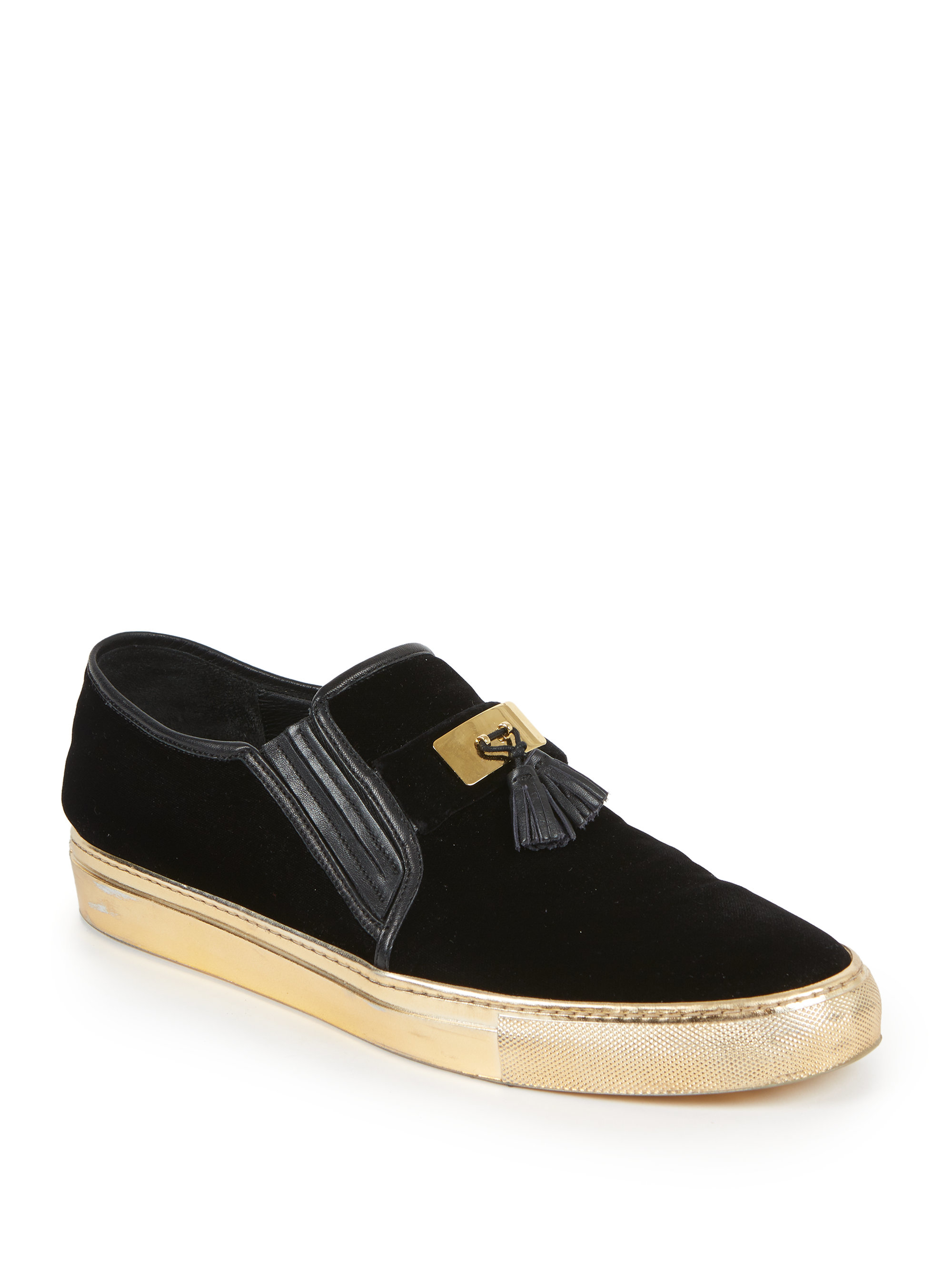 Lyst Balmain Tasseled Velvet Slip On Sneakers In Black
