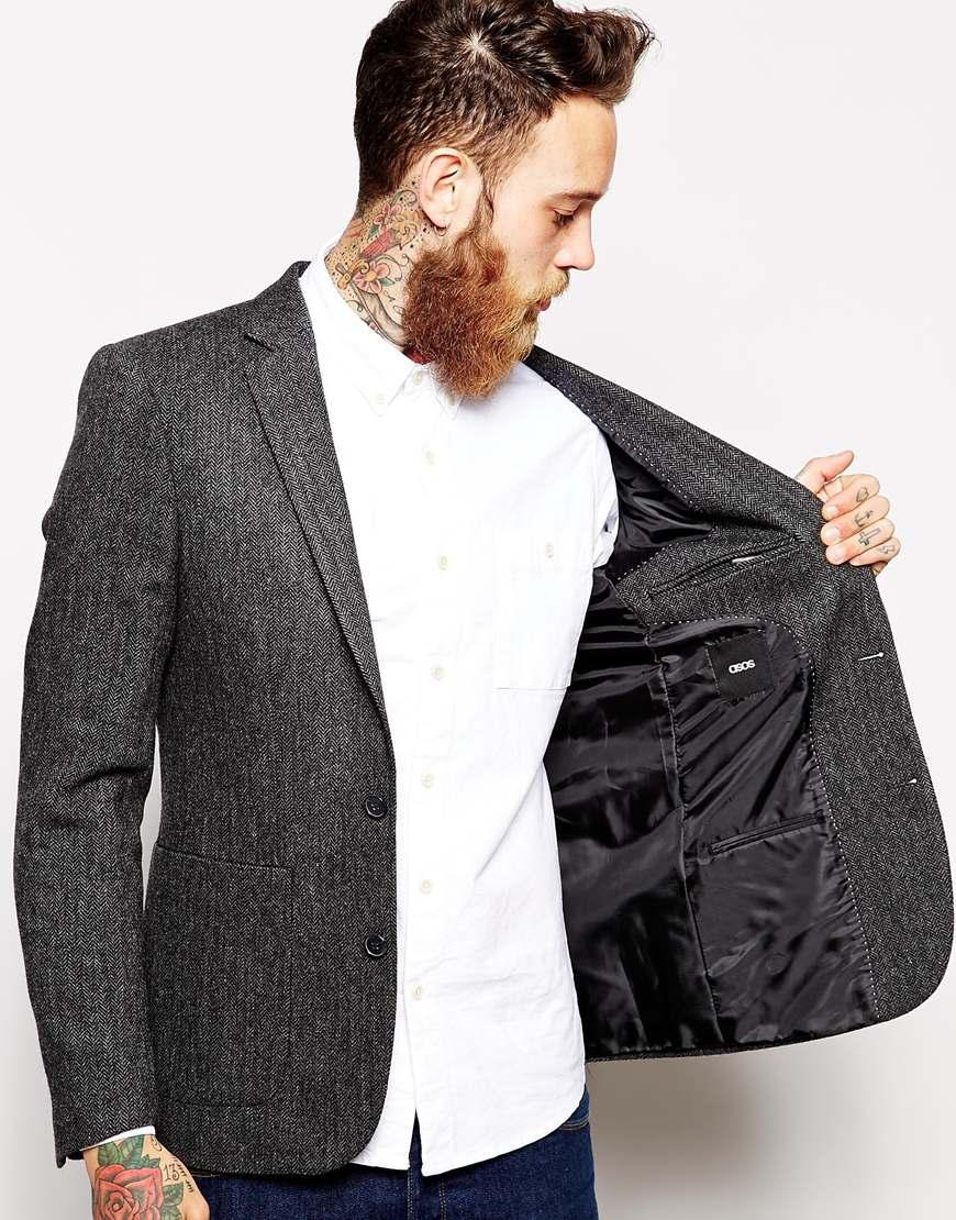 lyst asos slim fit blazer in 100 wool in gray for men. Black Bedroom Furniture Sets. Home Design Ideas