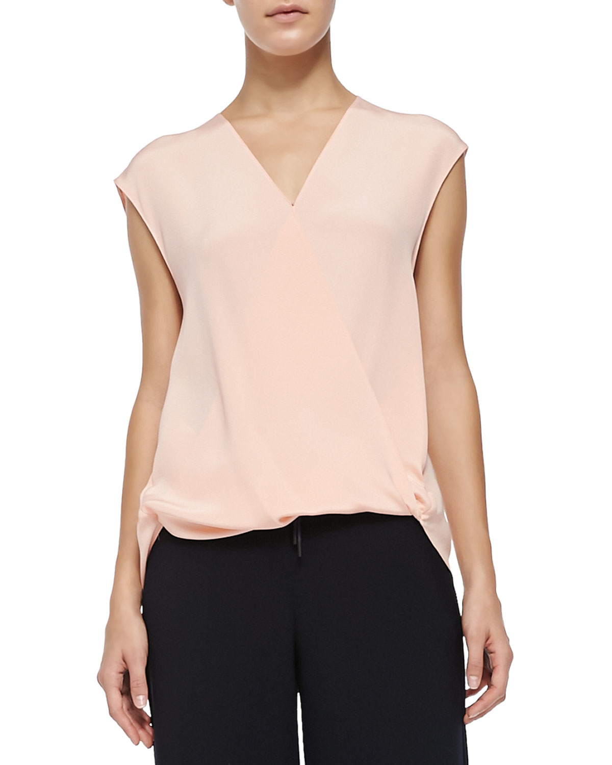 14156fd34f522 Lyst - 3.1 Phillip Lim Cap-sleeve Draped Tucked-in Shell in Pink