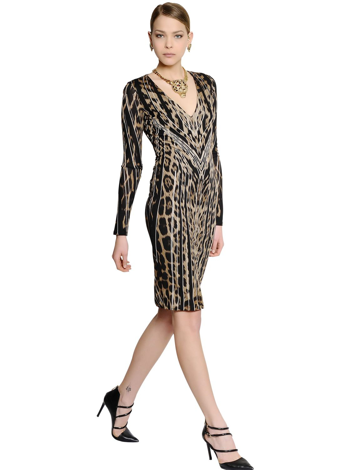 Leopard-printed jersey dress Roberto Cavalli Wholesale Price Manchester Free Shipping Fast Delivery Latest Collections Online Finishline Sale Online 3FvPx0