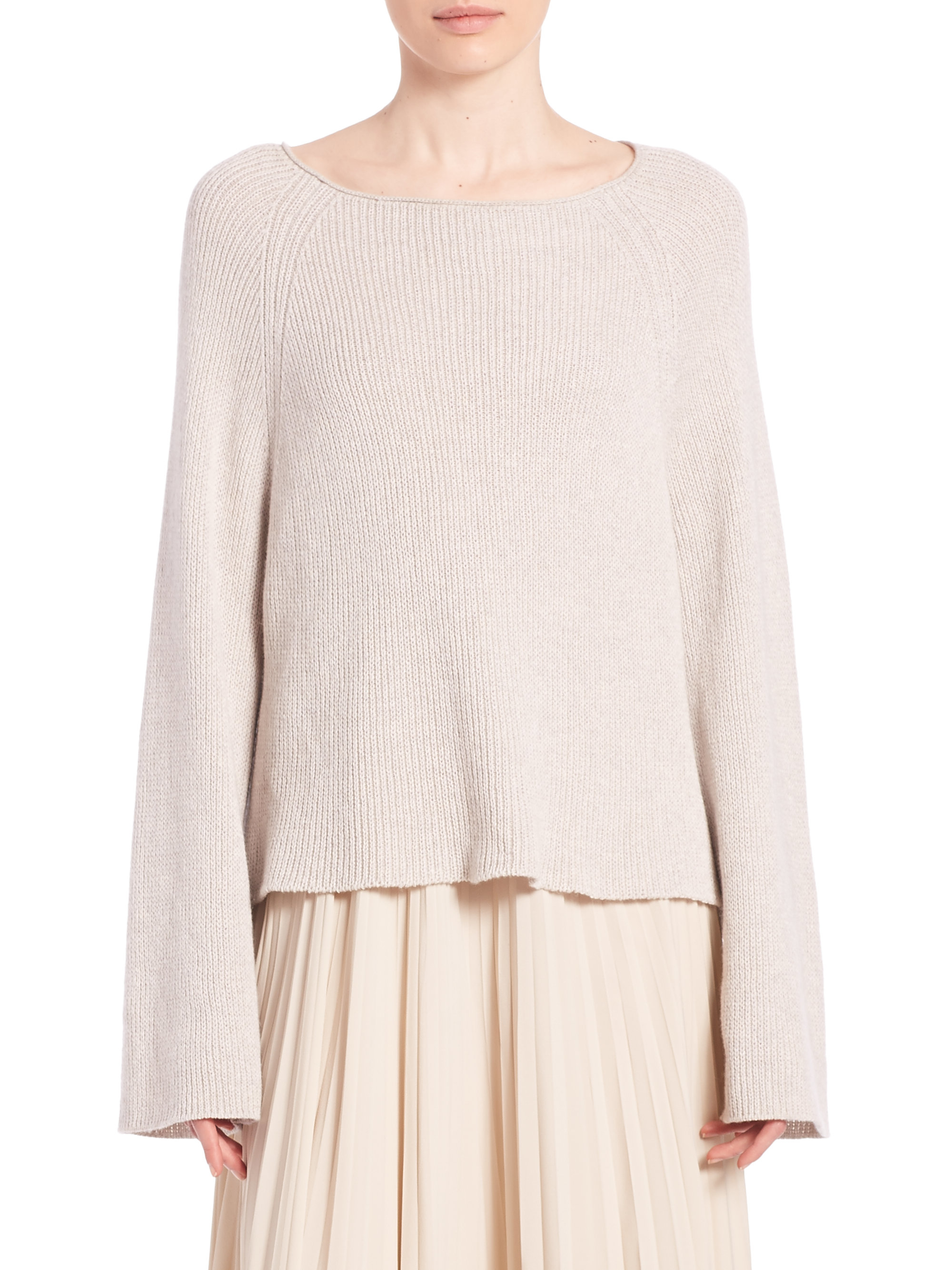 Helmut lang Cotton & Cashmere Pullover in Natural | Lyst