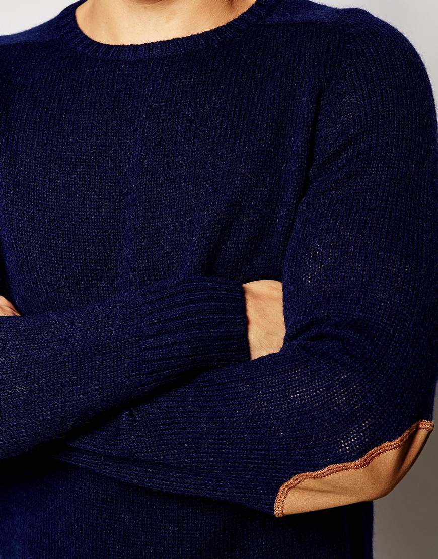 Lyst esprit wool jumper with elbow patches in navy in blue for men.