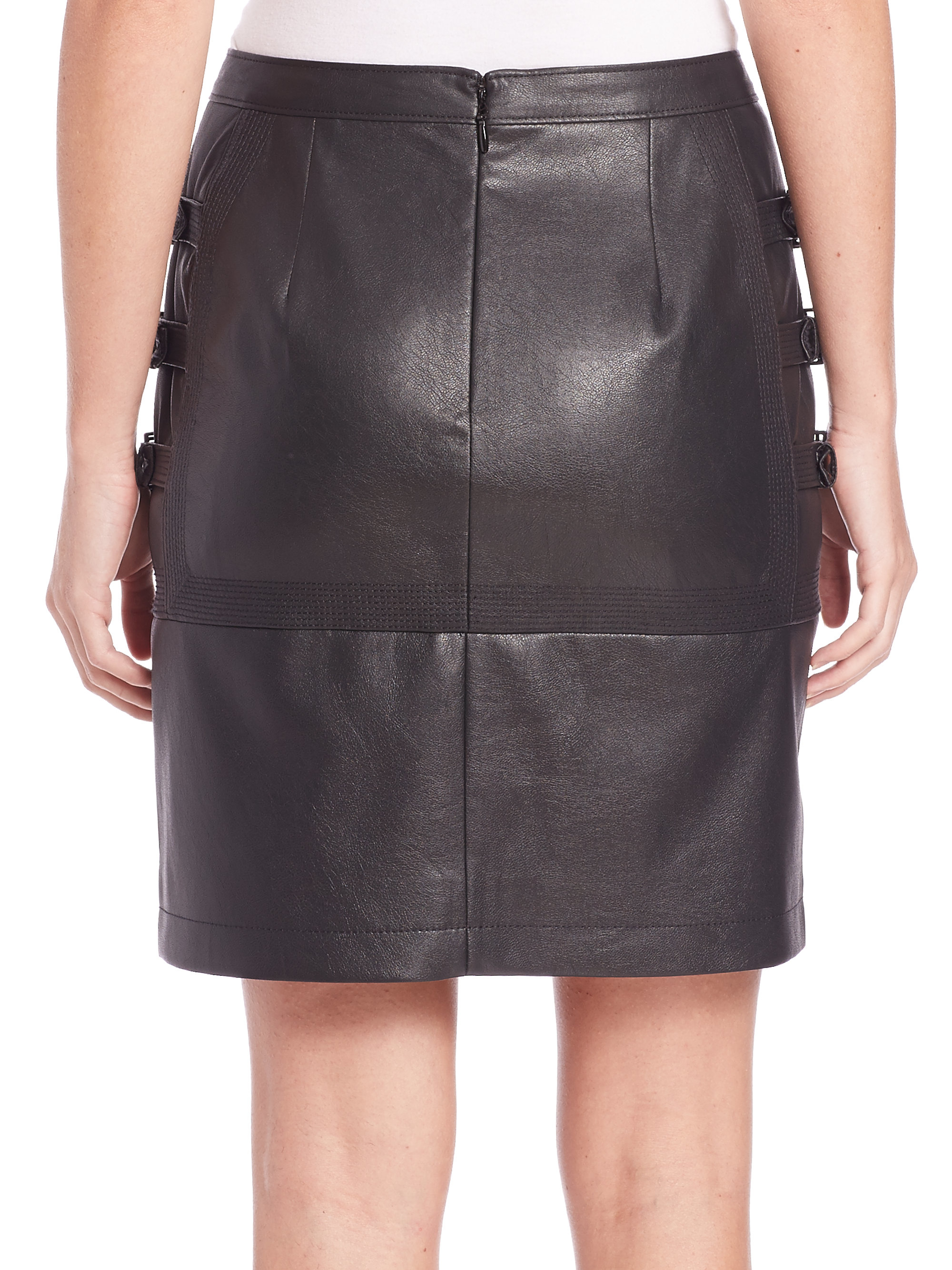 Bcbgmaxazria Faux Leather Buckle Skirt in Black | Lyst