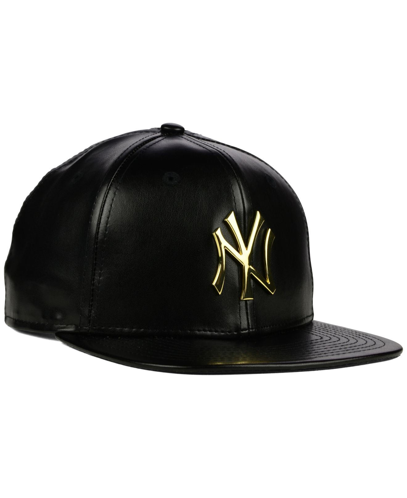 2d3c844d8a991 KTZ New York Yankees Faux Leather 9fifty Strapback Cap in Black - Lyst