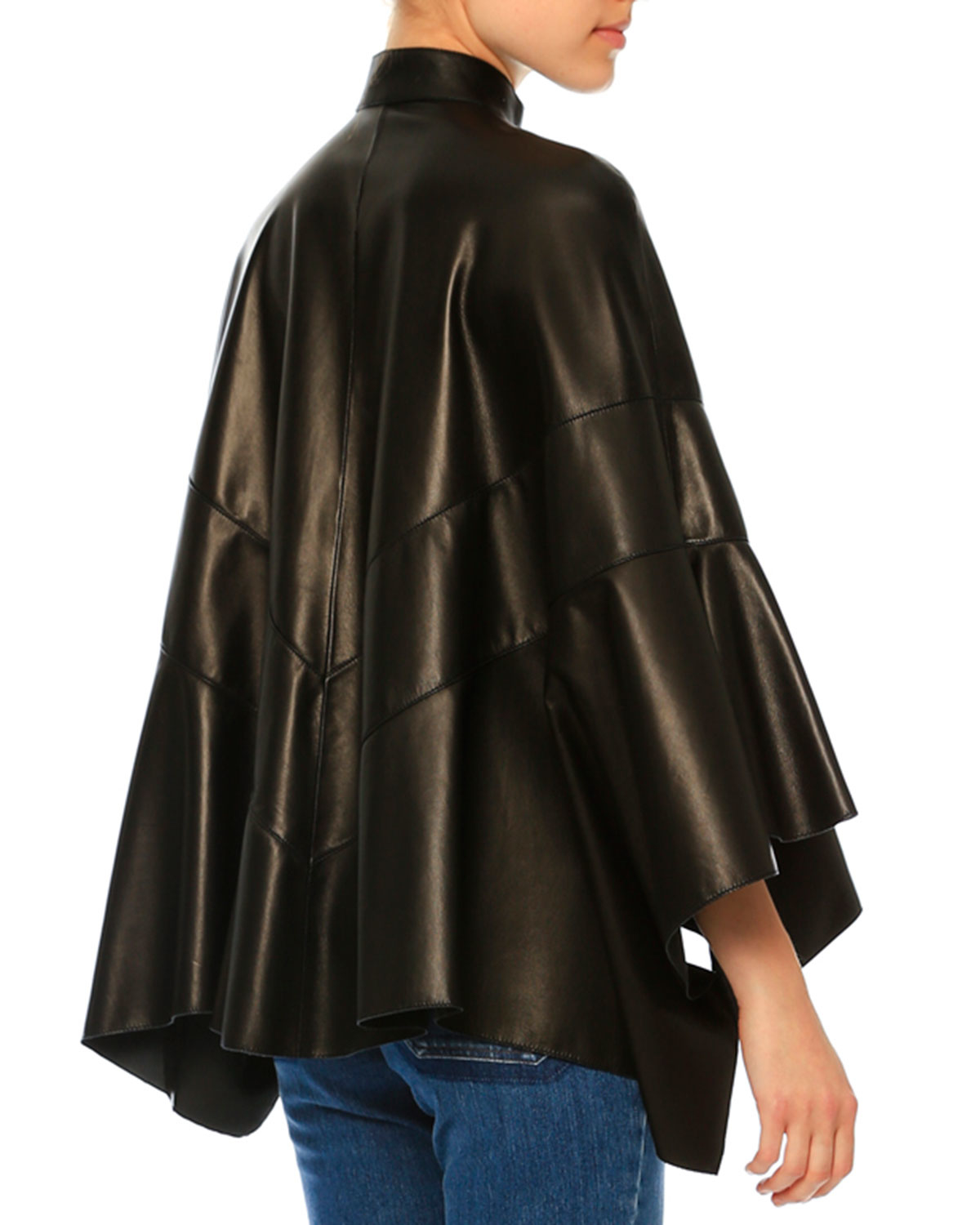 Lyst Valentino Arched Leather Poncho Jacket In Brown