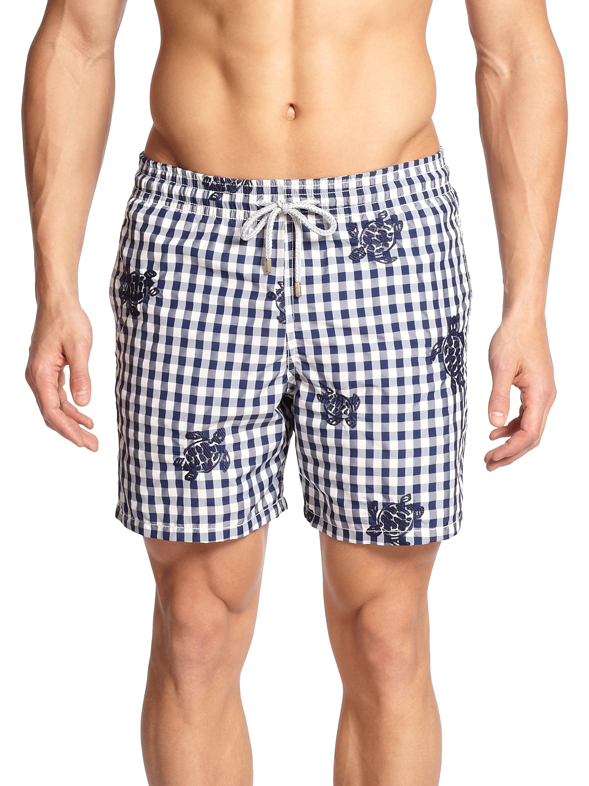 ef20324107 Vilebrequin Mistral Embroidered Check-print Swim Trunks in Blue for ...