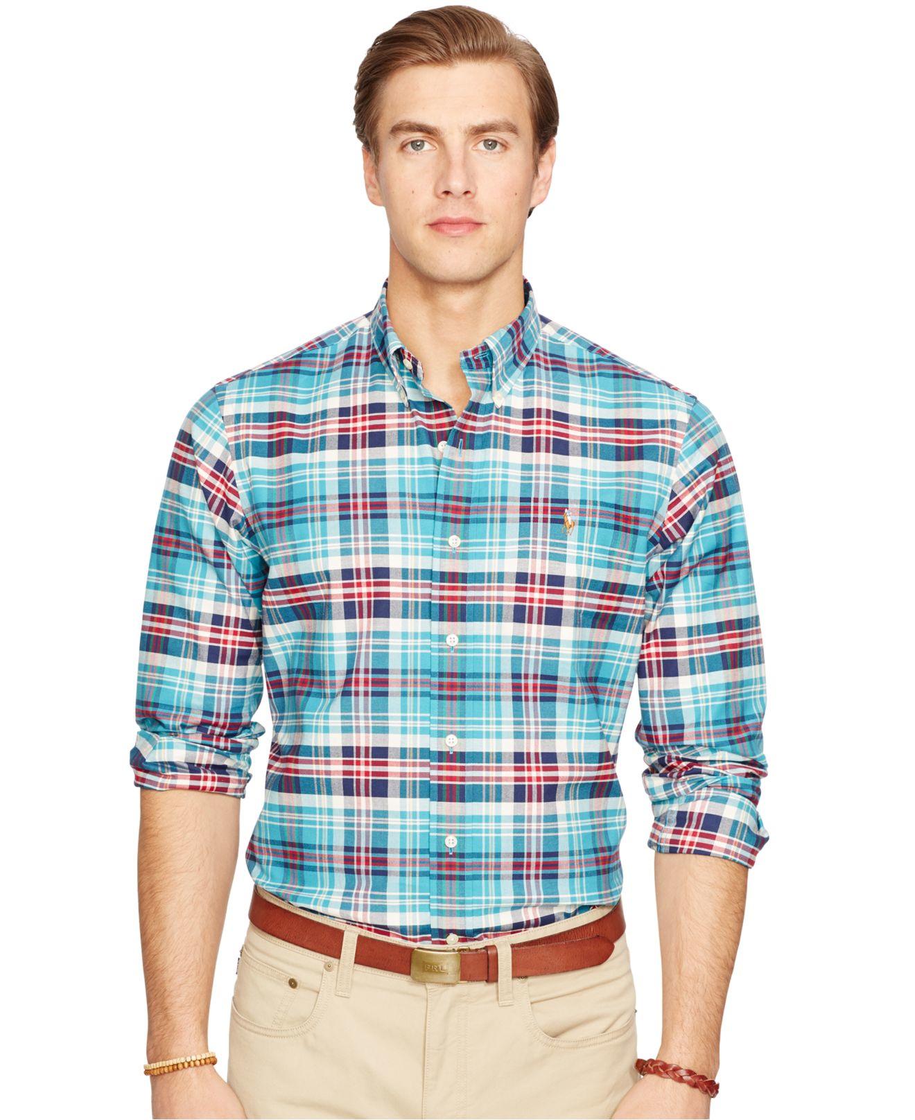 51ecd46b7 ... cheap lyst polo ralph lauren slim fit plaid stretch oxford shirt in  blue 6436e b3347