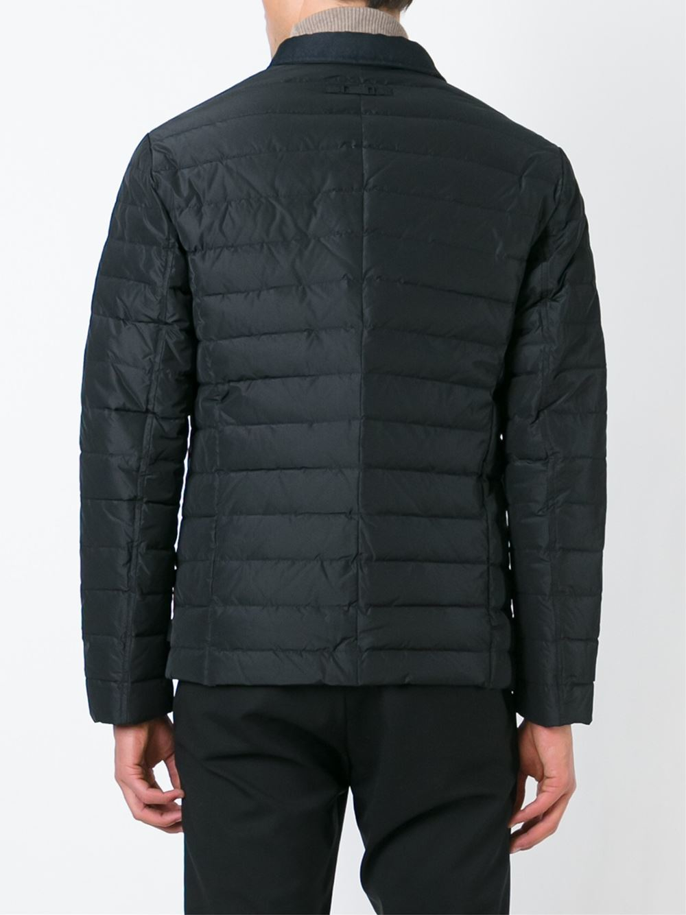 Armani Zipped Padded Jacket In Black For Men Lyst