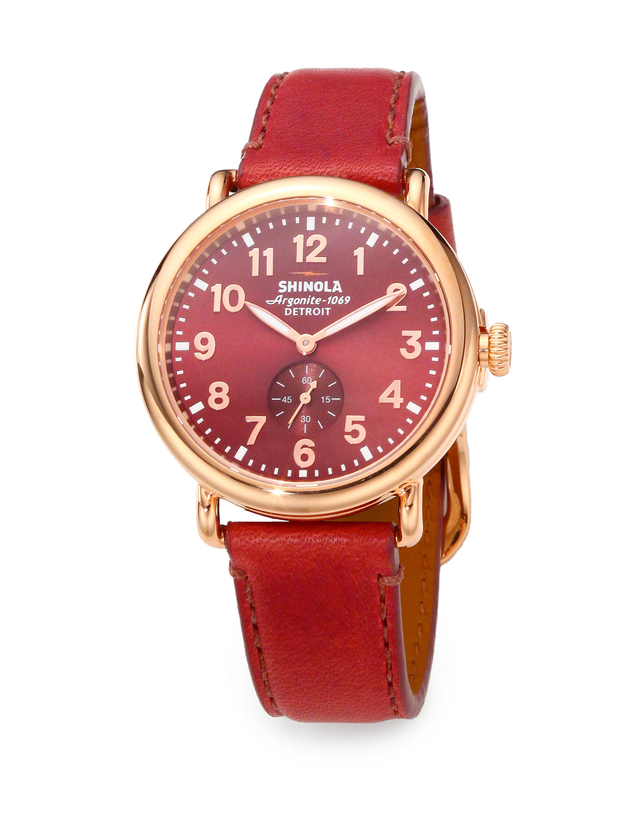 normal watch runwell red shinola stainless gallery product strap leather lyst accessories watches goldtone pvd steel rose