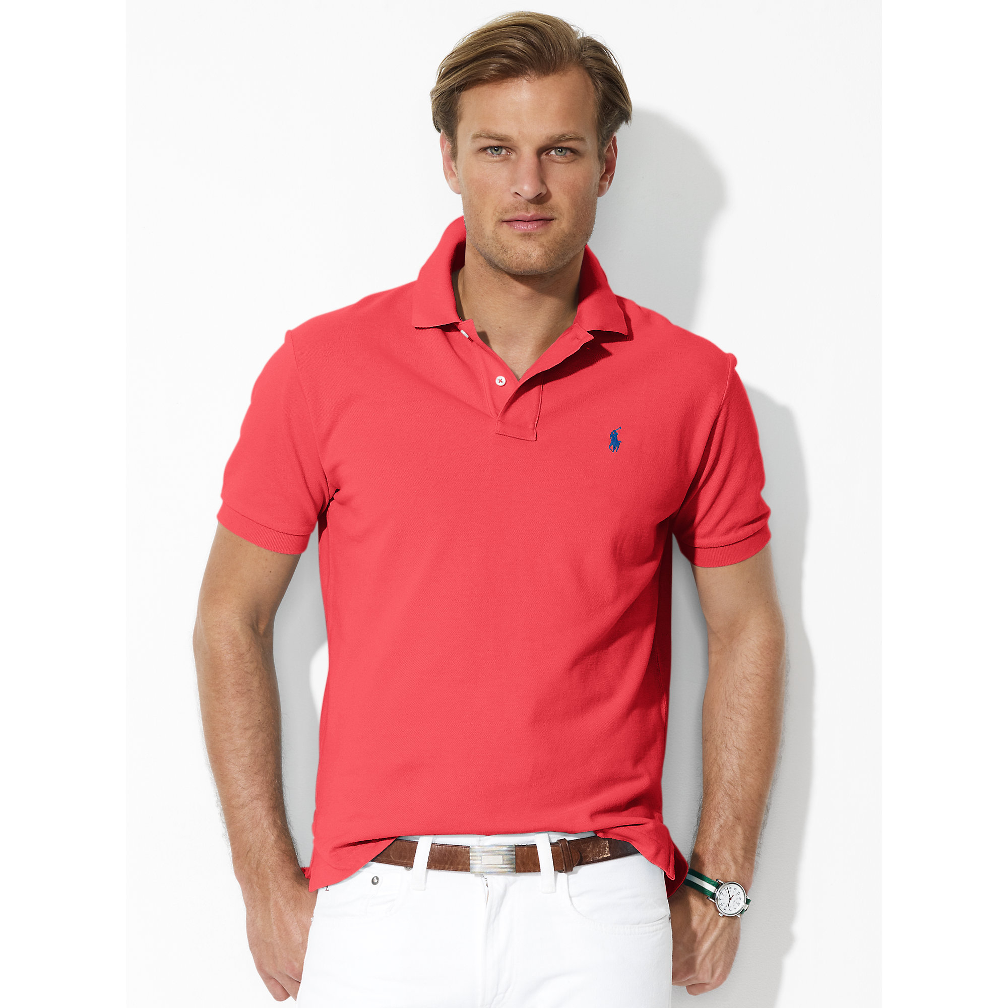 753d93b27 Polo Ralph Lauren Classic-fit Mesh Polo in Pink for Men - Lyst