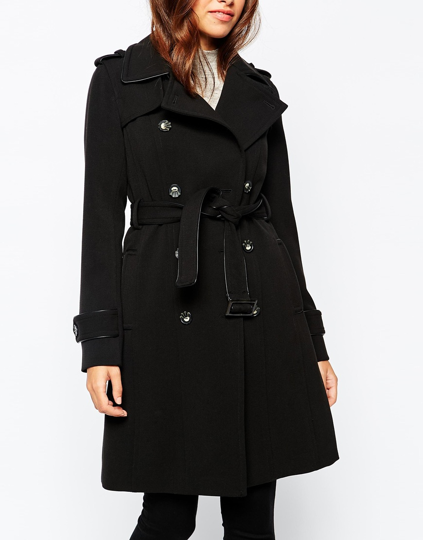 Warehouse Double Breasted Trench Coat in Black | Lyst