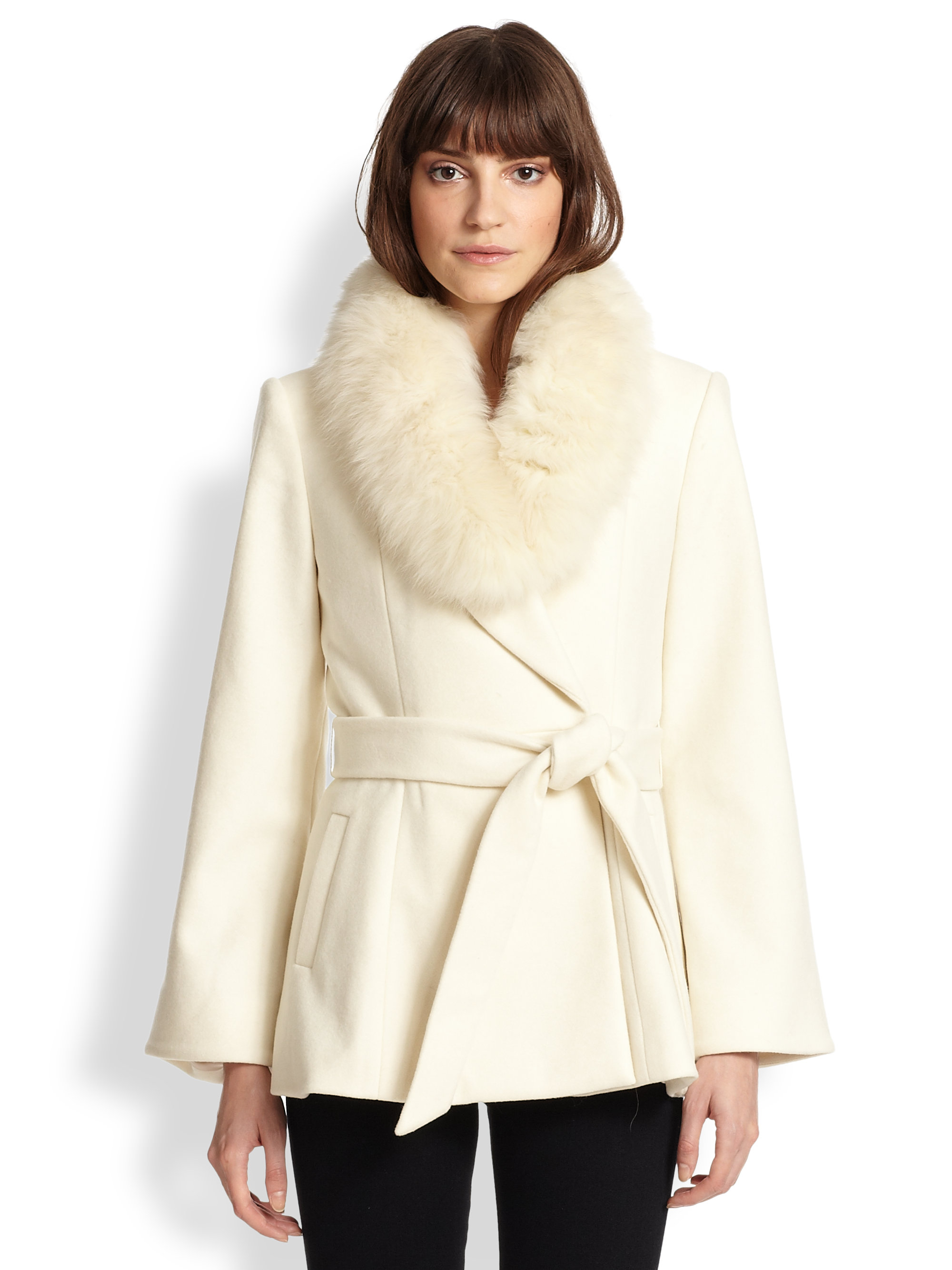 Alice   olivia Meridian Fox Fur-Trimmed Wrap Coat in Natural | Lyst
