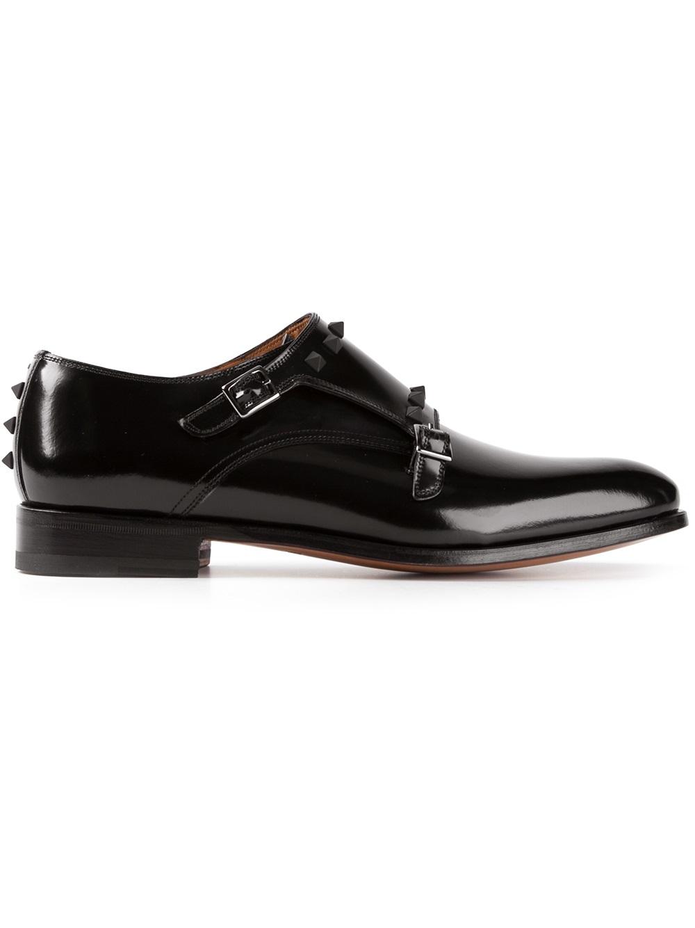 Black Double Strap Monk Shoes Khakis