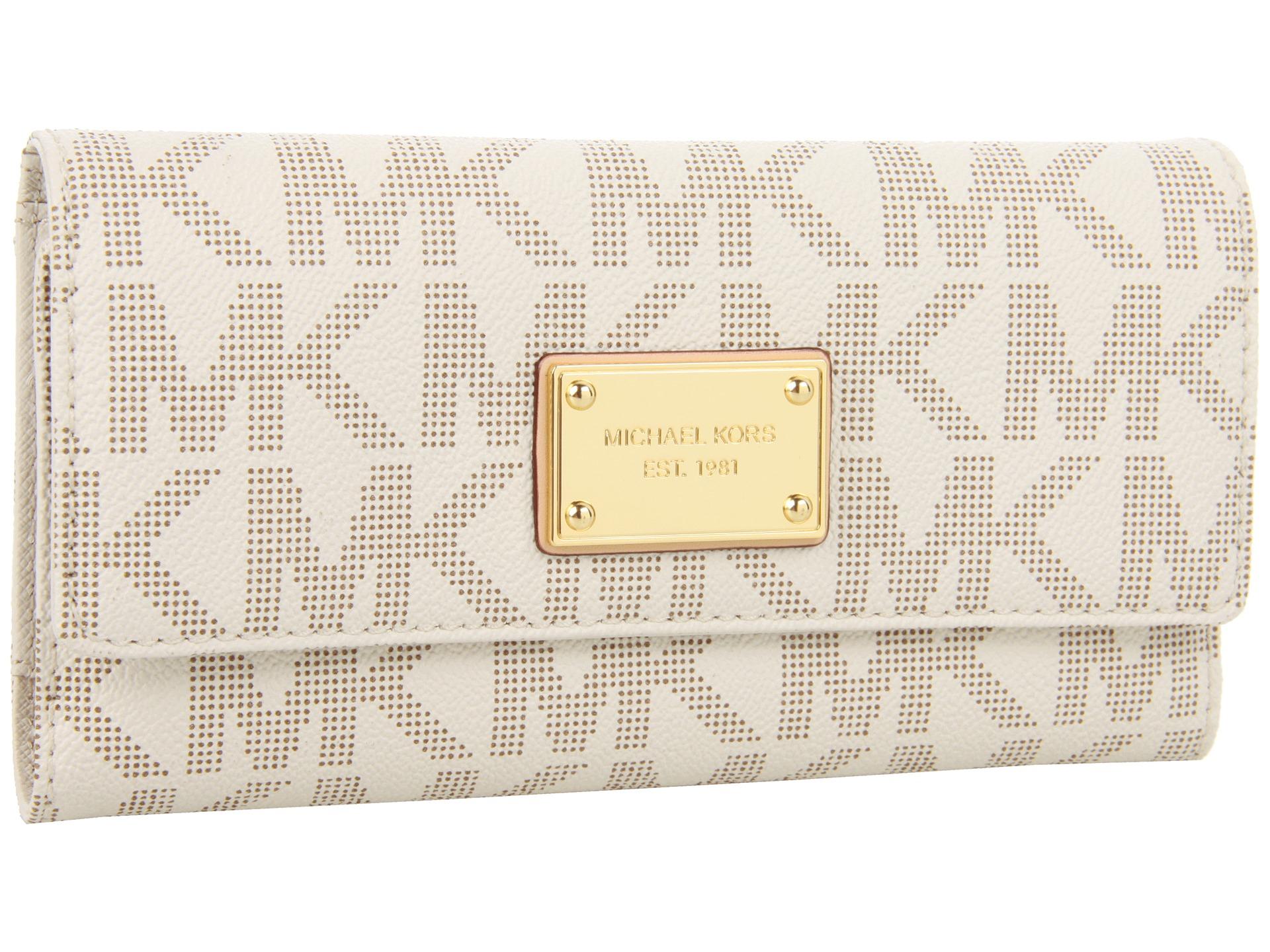 bc6c6427e07f MICHAEL Michael Kors Jet Set Checkbook Wallet in White - Lyst