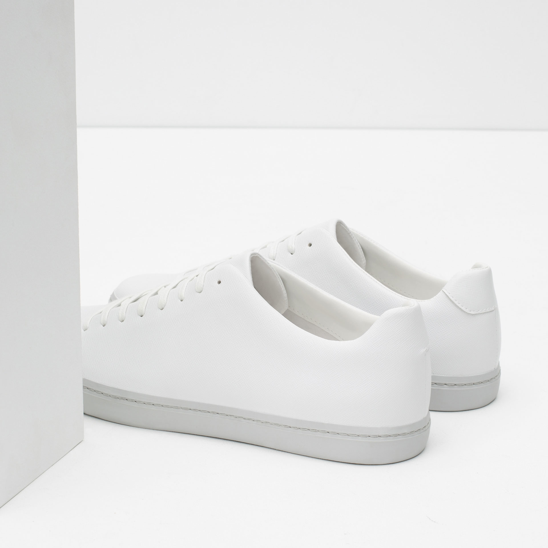 zara single color sneakers in white for lyst