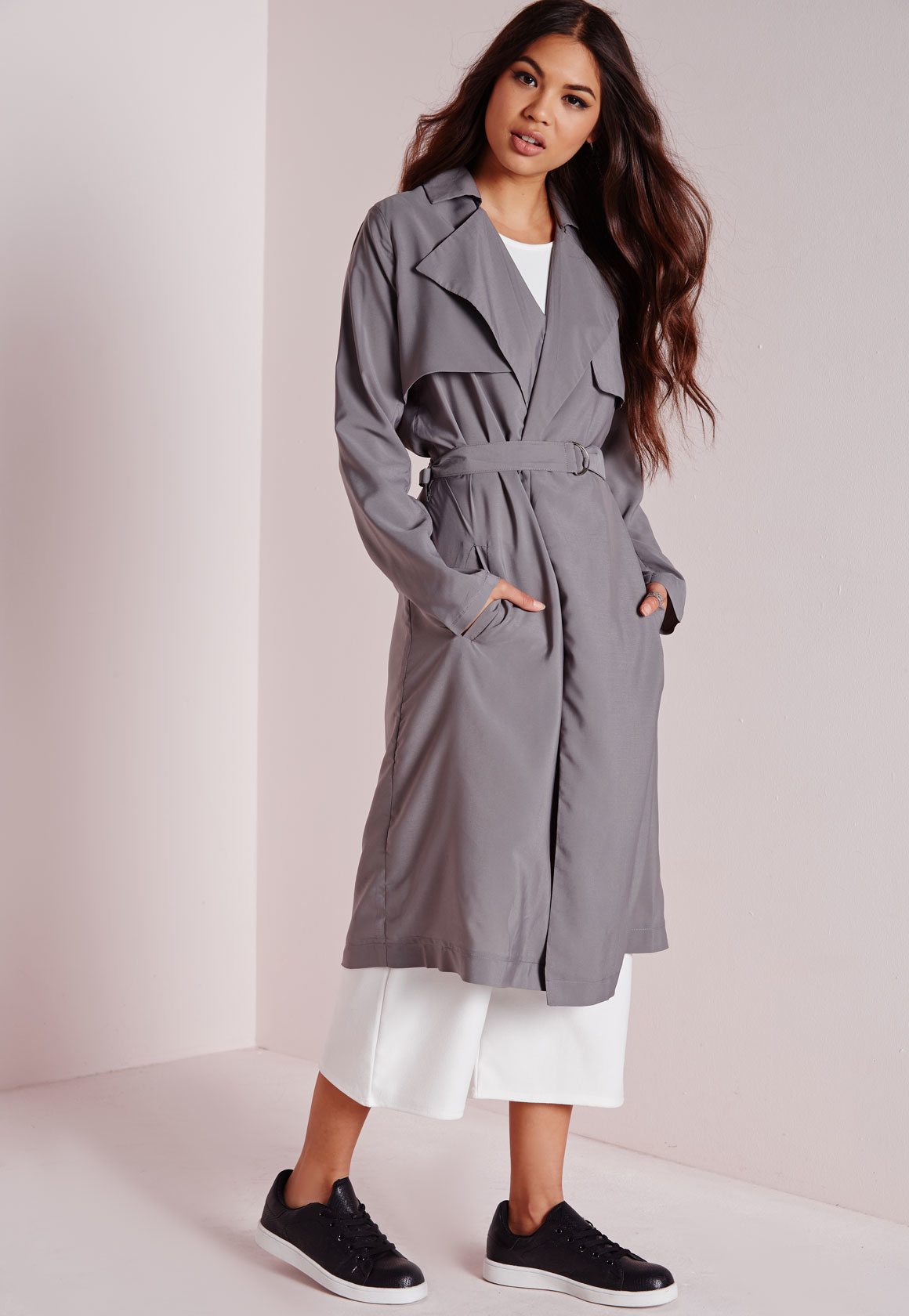 Missguided Draped Lightweight Trench Coat Grey in Gray | Lyst
