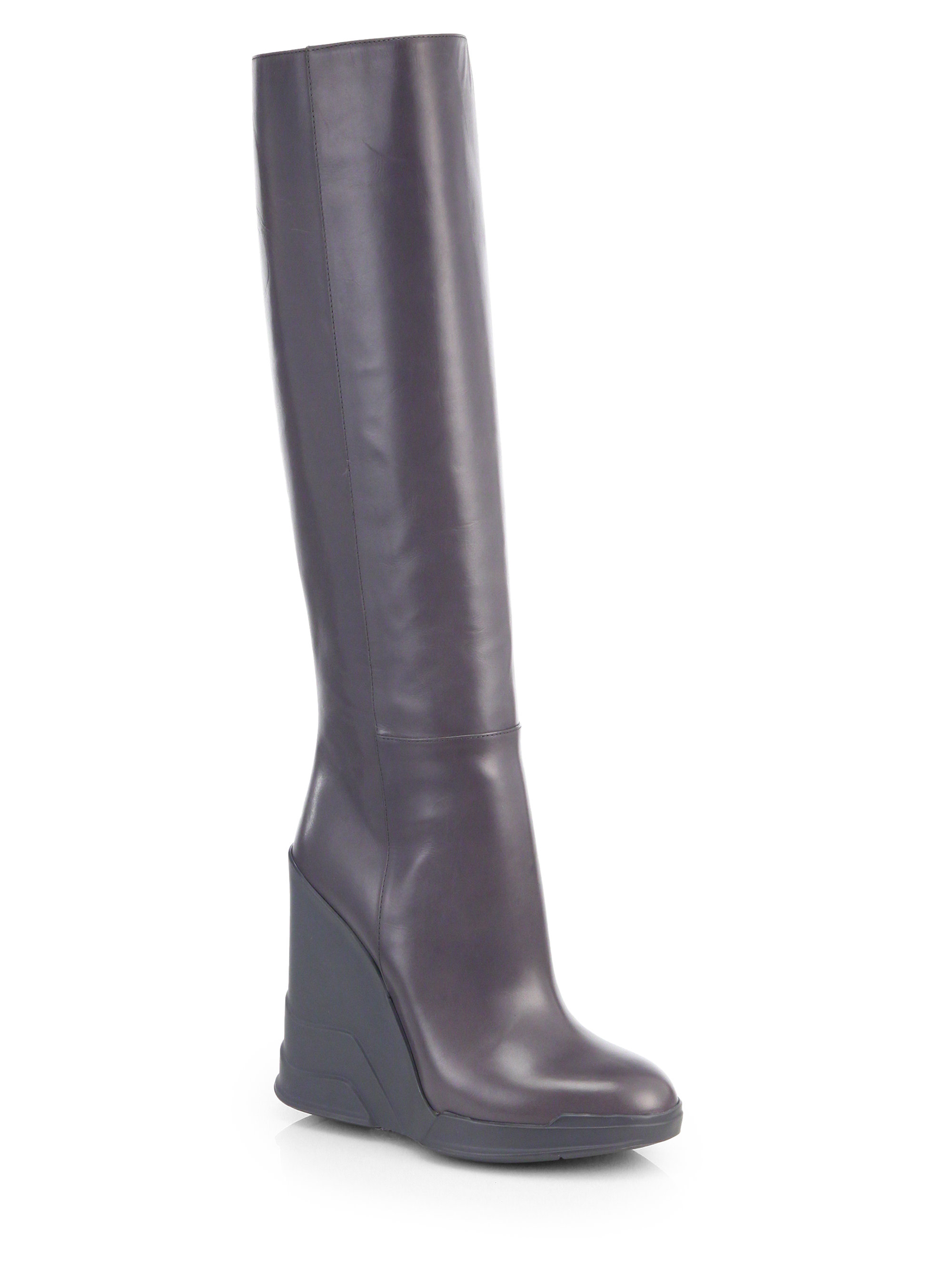 prada leather knee high wedge boots in brown mercurio