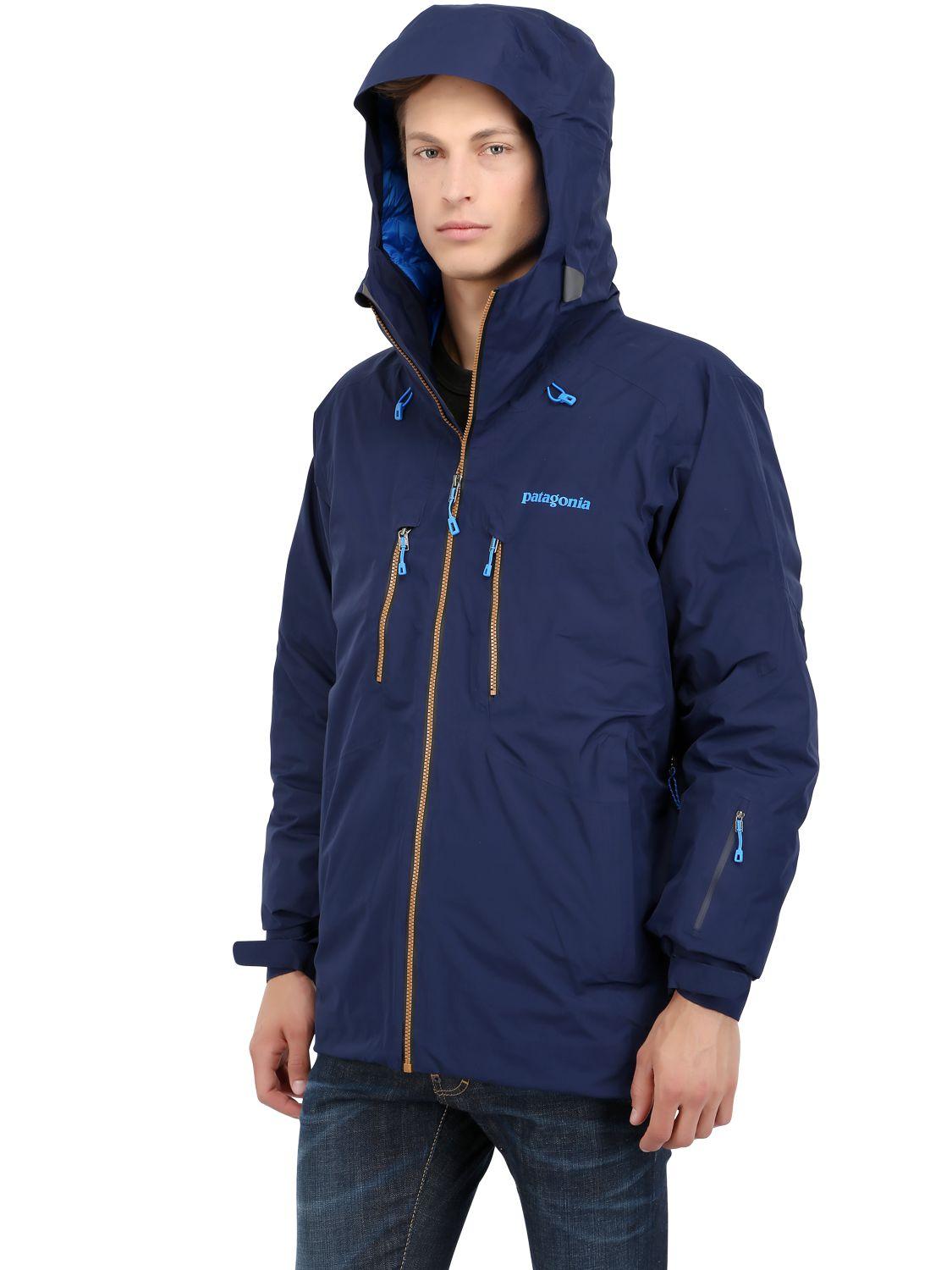 Patagonia primo down jacket in blue for men lyst for Patagonia men s recycled down shirt jacket