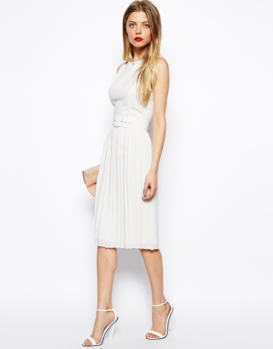 68f814c44053 Lyst - ASOS Midi Skater Dress With Pleated Skirt And Belt in Blue