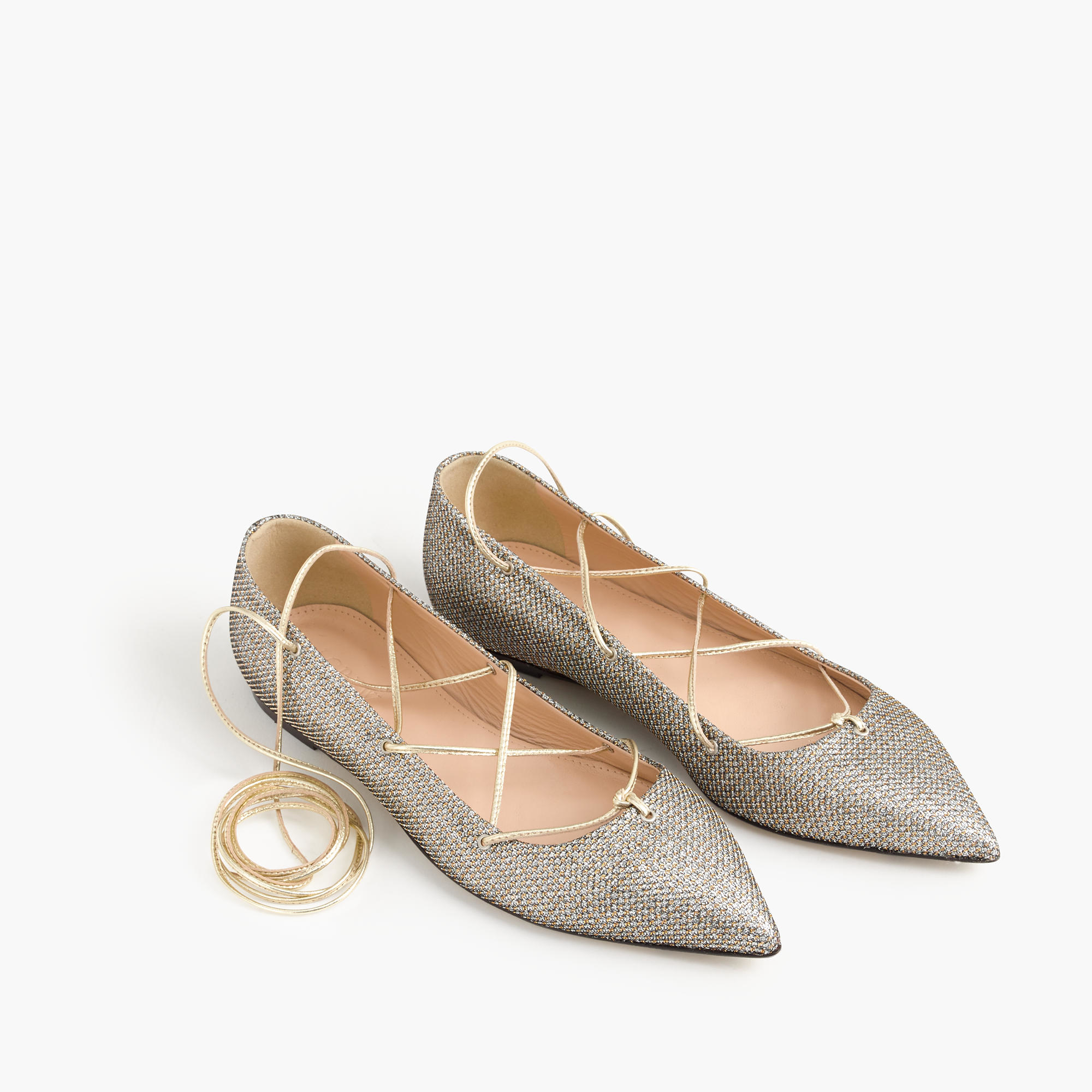 Flats With Gold Heel - Is Heel