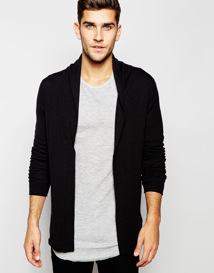 Selected Open Drapey Cardigan in Black for Men | Lyst