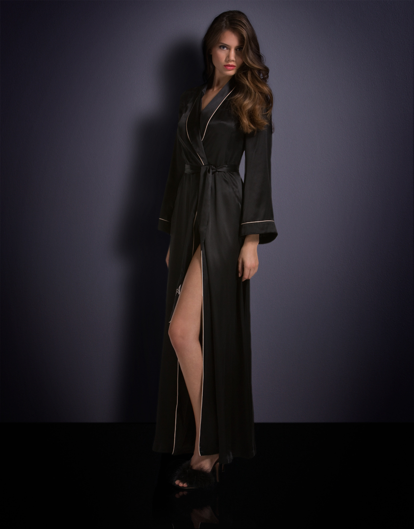 Lyst - Agent Provocateur Long Classic Dressing Gown Black in Black