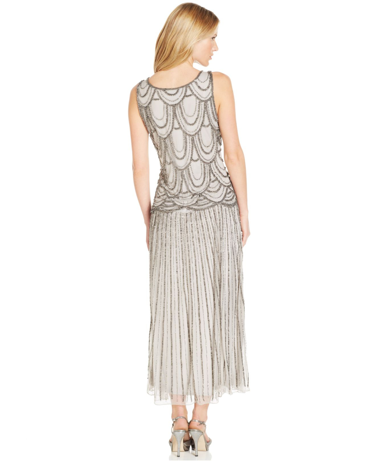 11e5c4dca99 Lyst - Pisarro Nights Sleeveless Beaded Drop-Waist Gown in Metallic