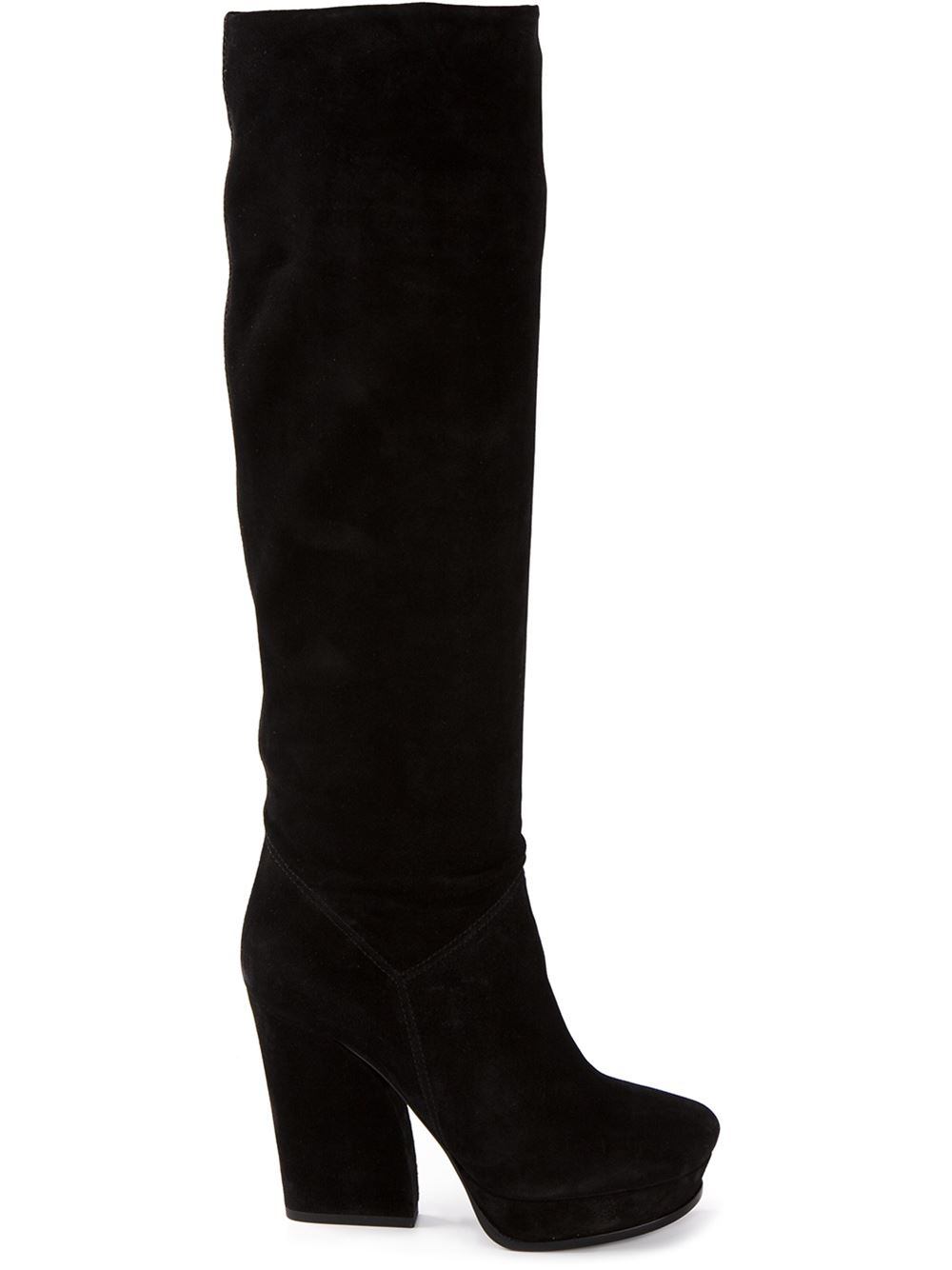 lanvin chunky heel platform boots in black lyst
