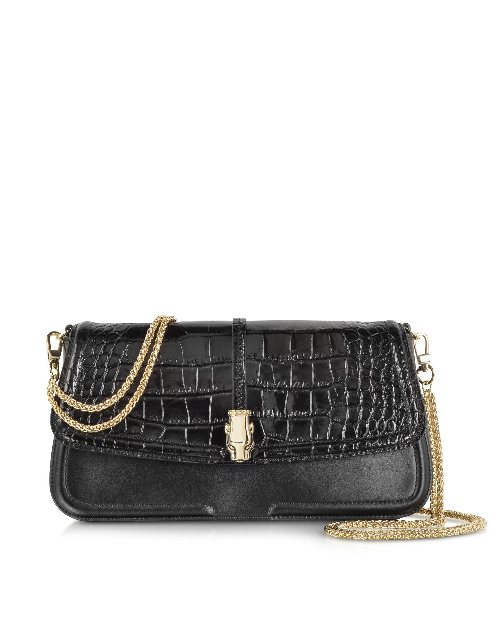 ad84cc6d4672 Class Roberto Cavalli Black Croco Print Leather Daphne Clutch in ...